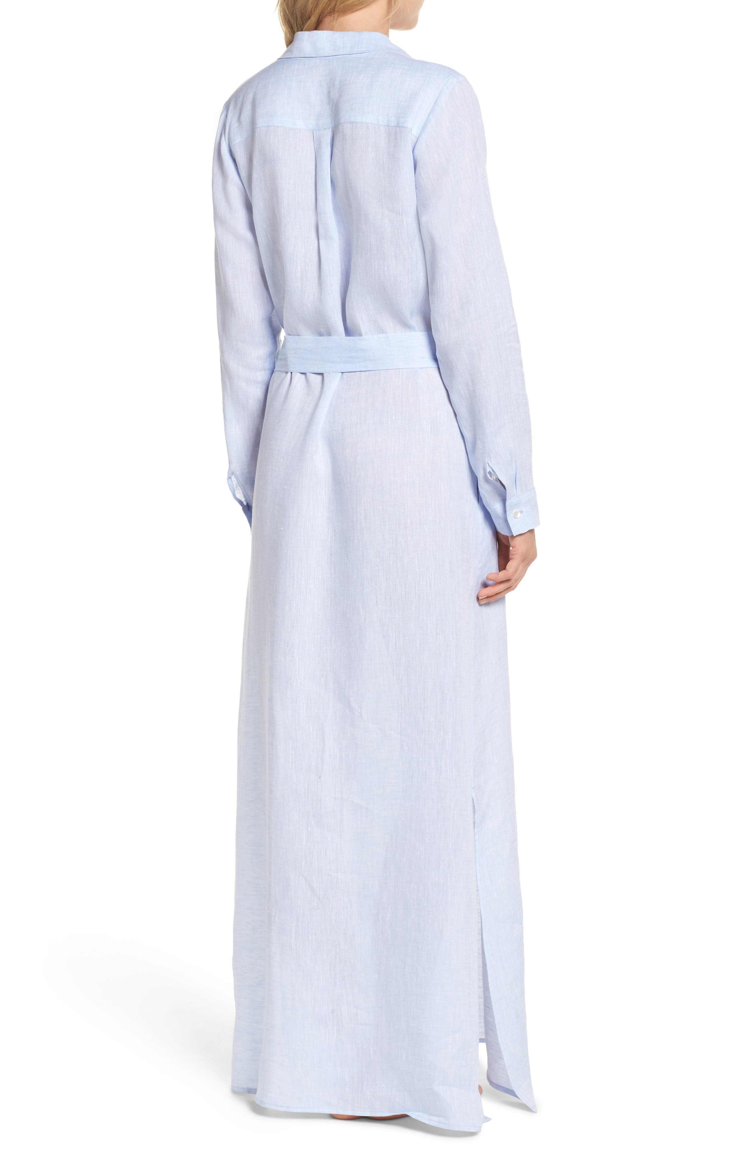 Alternate Image 2  - Pour Les Femmes Linen Maxi Sleep Shirtdress