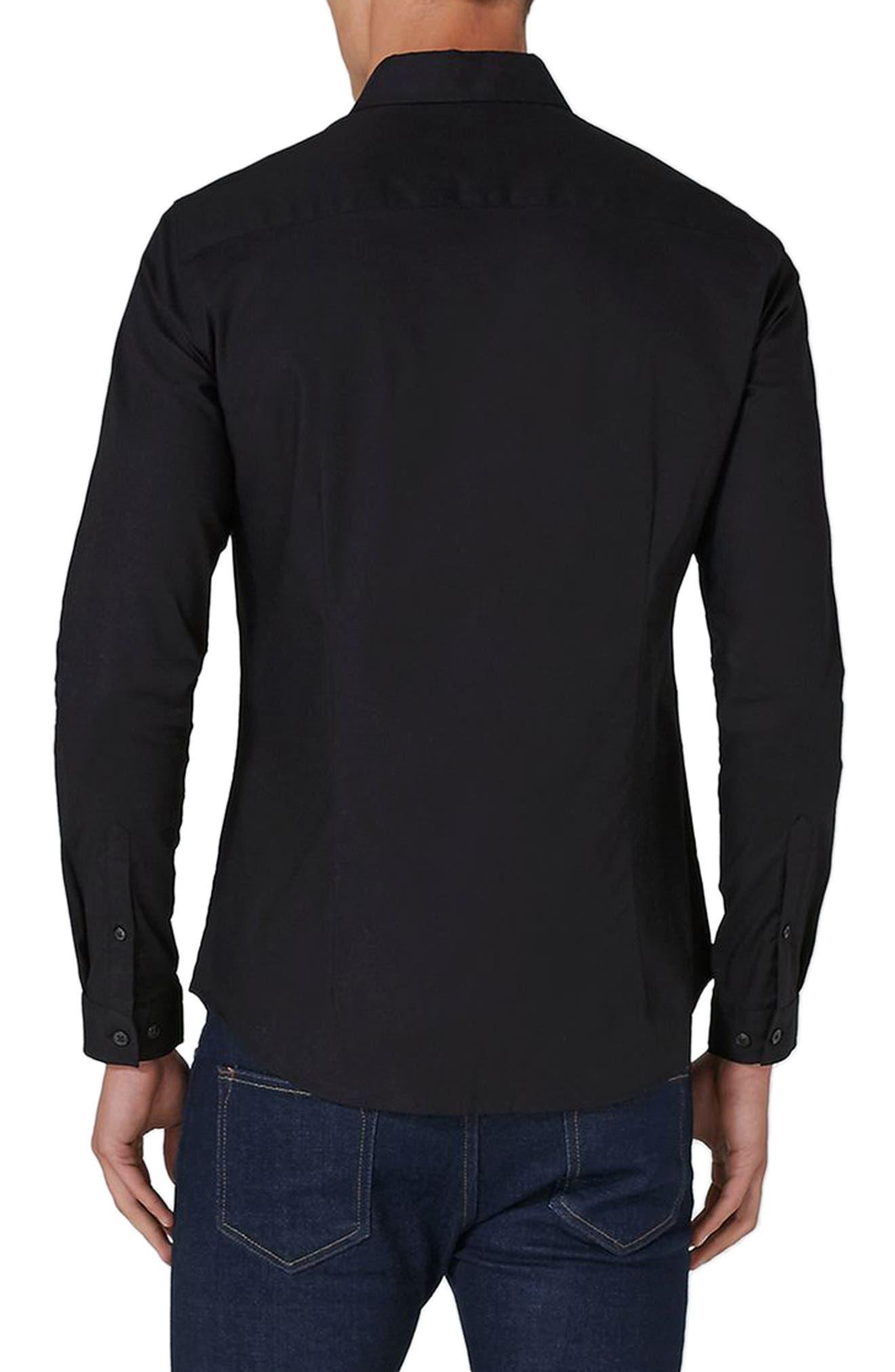 Muscle Fit Oxford Shirt,                             Alternate thumbnail 2, color,                             Black