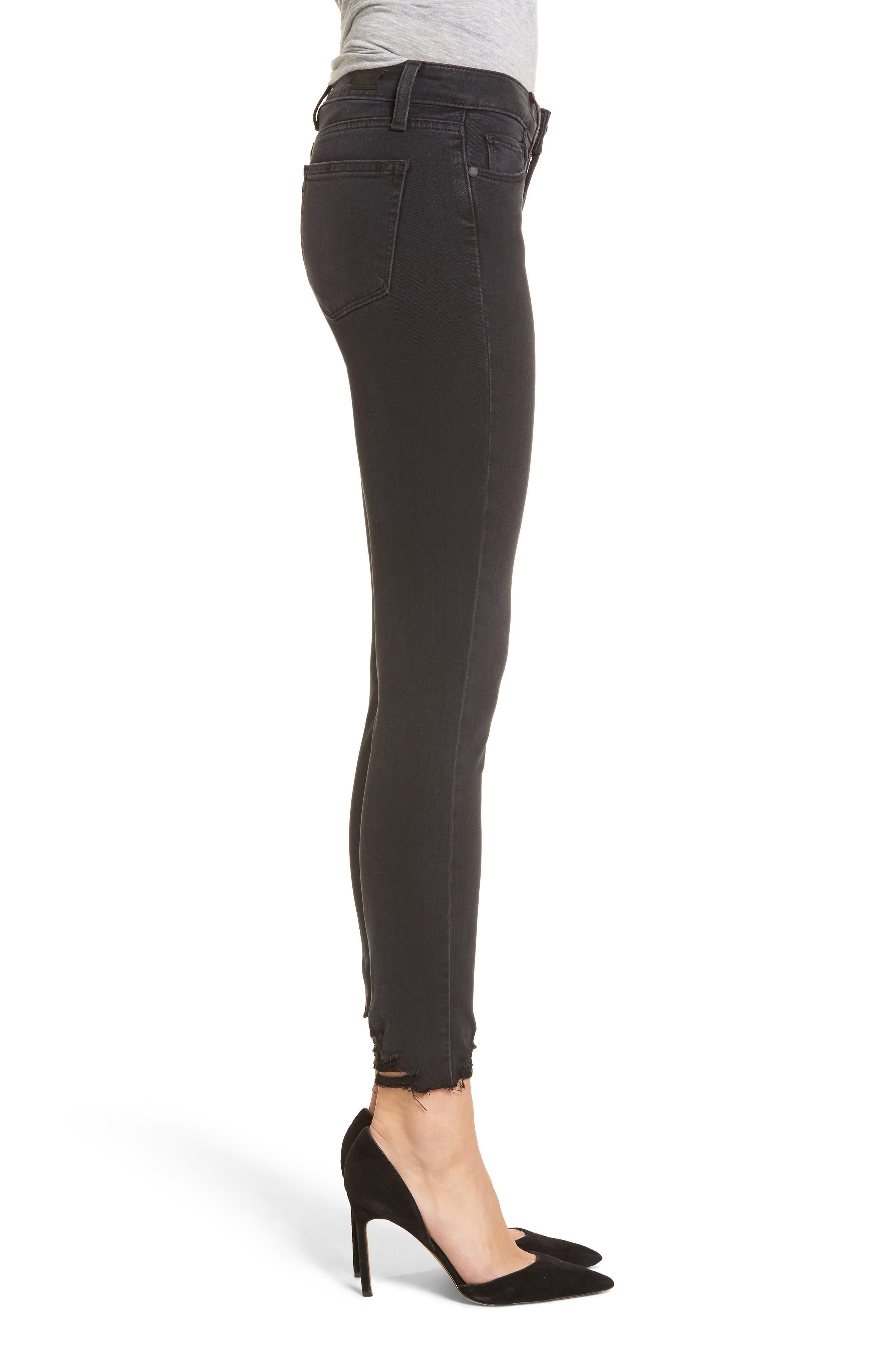 Transcend - Verdugo Ankle Skinny Jeans,                             Alternate thumbnail 3, color,                             Black Fog Super Distressed