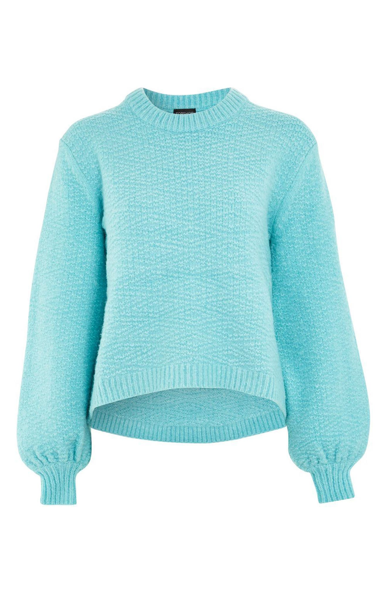 Textured Balloon Sleeve Sweater,                             Alternate thumbnail 4, color,                             Turquoise