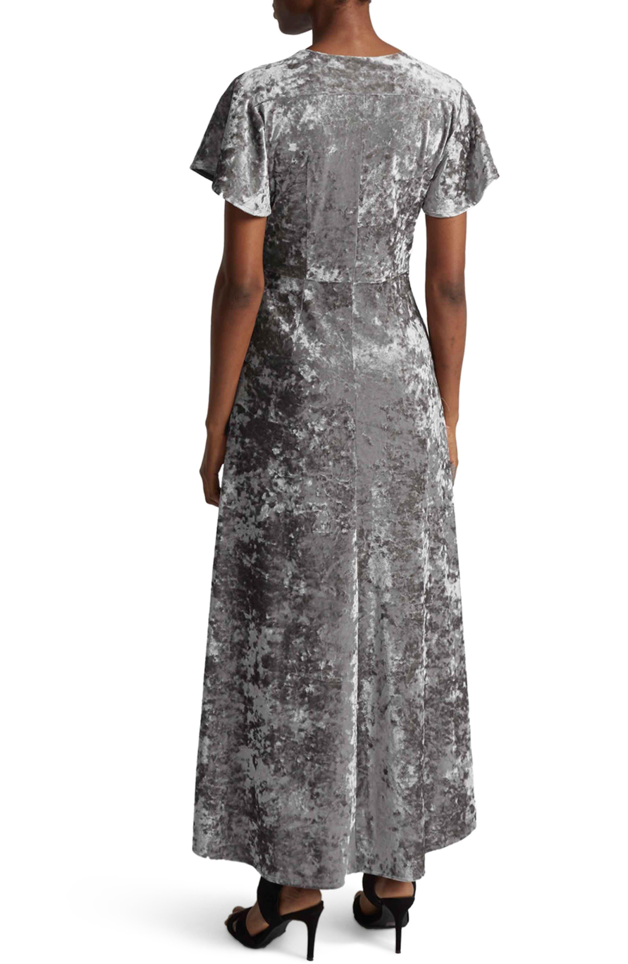 Aurore Velvet Maxi Wrap Dress,                             Alternate thumbnail 2, color,                             Smokey