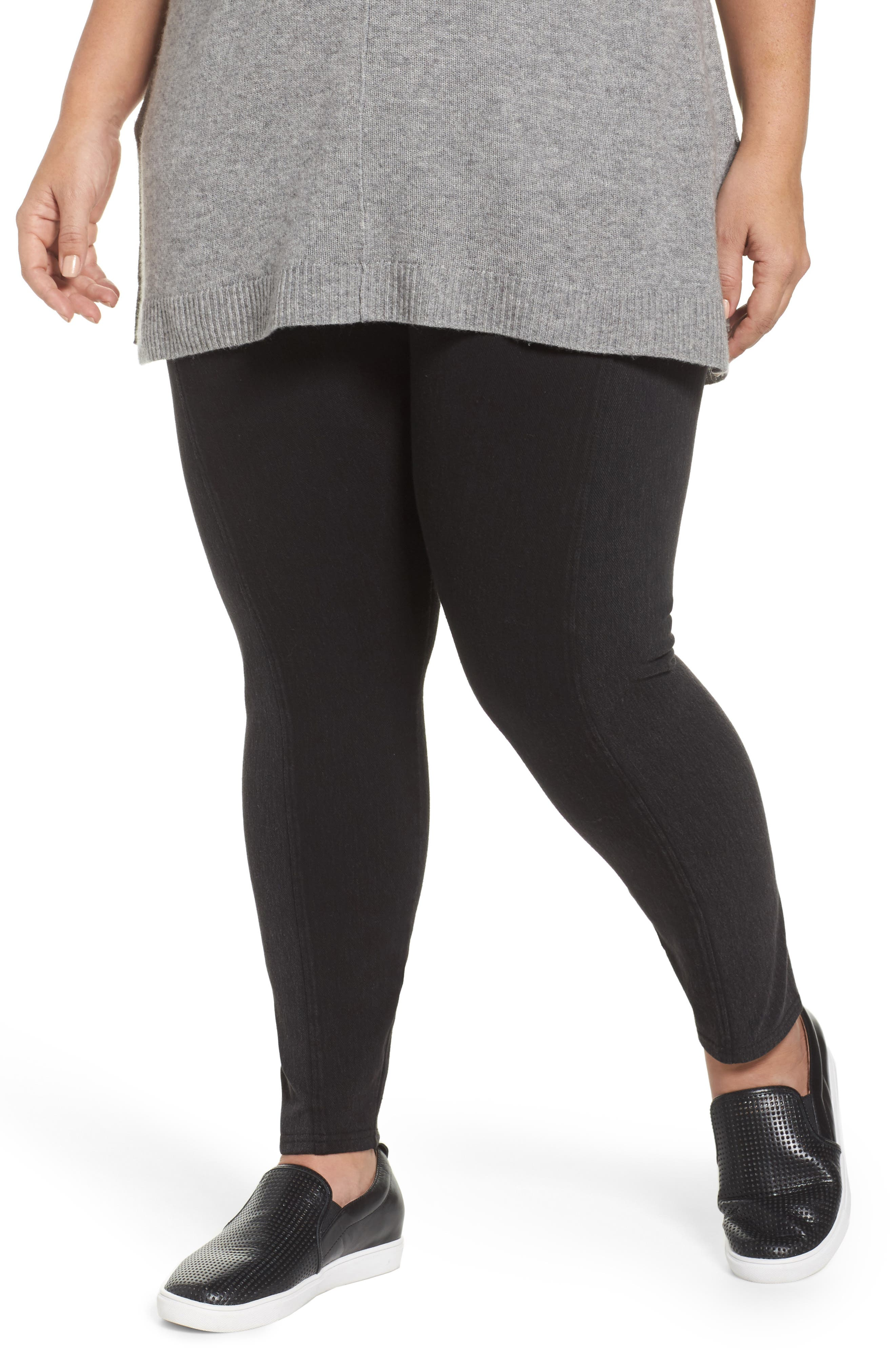 Ab-Solution Stretch Straight Leg Jeans,                             Alternate thumbnail 3, color,                             Black