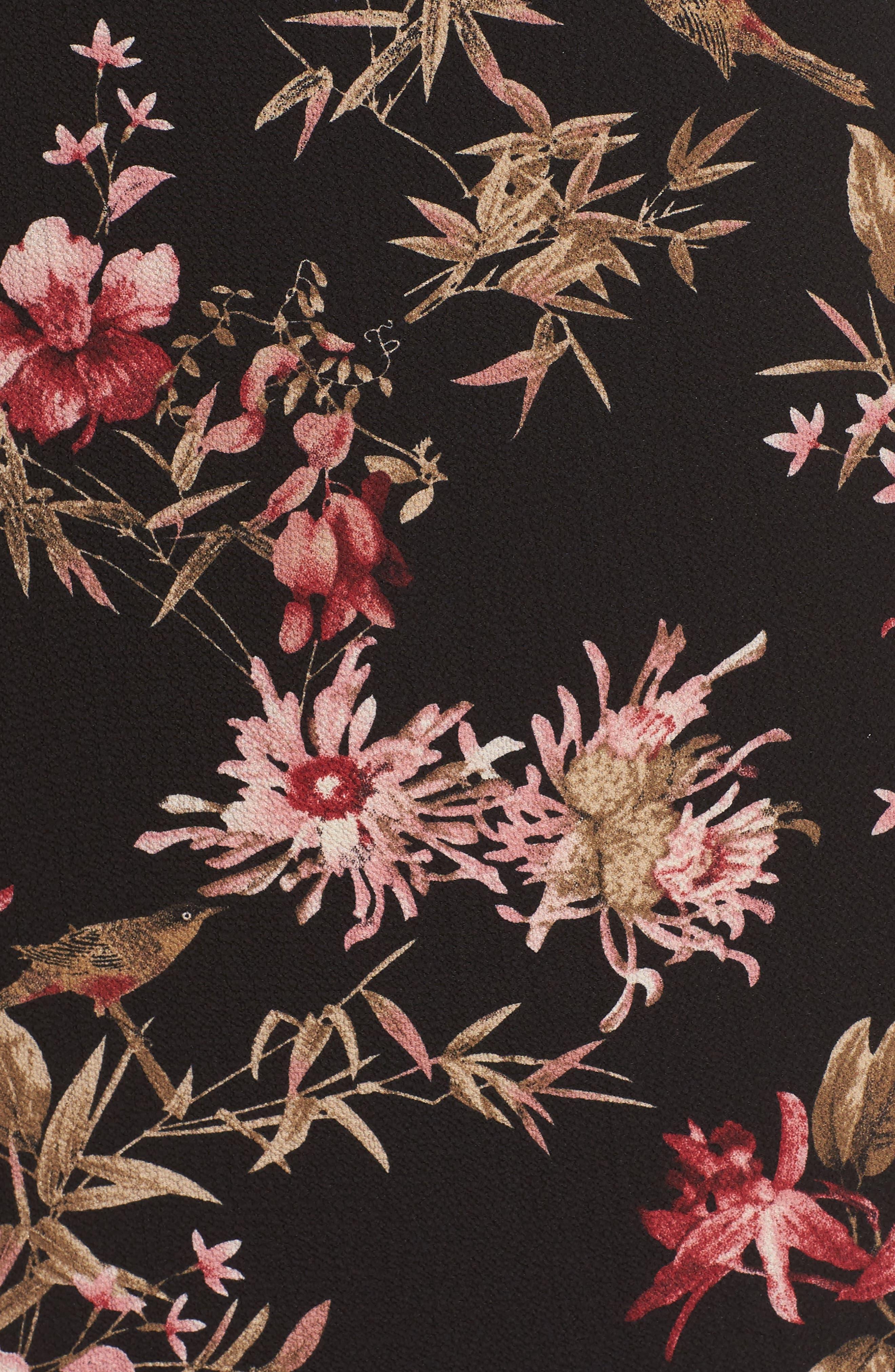 Choker Trapeze Dress,                             Alternate thumbnail 5, color,                             Red Flower