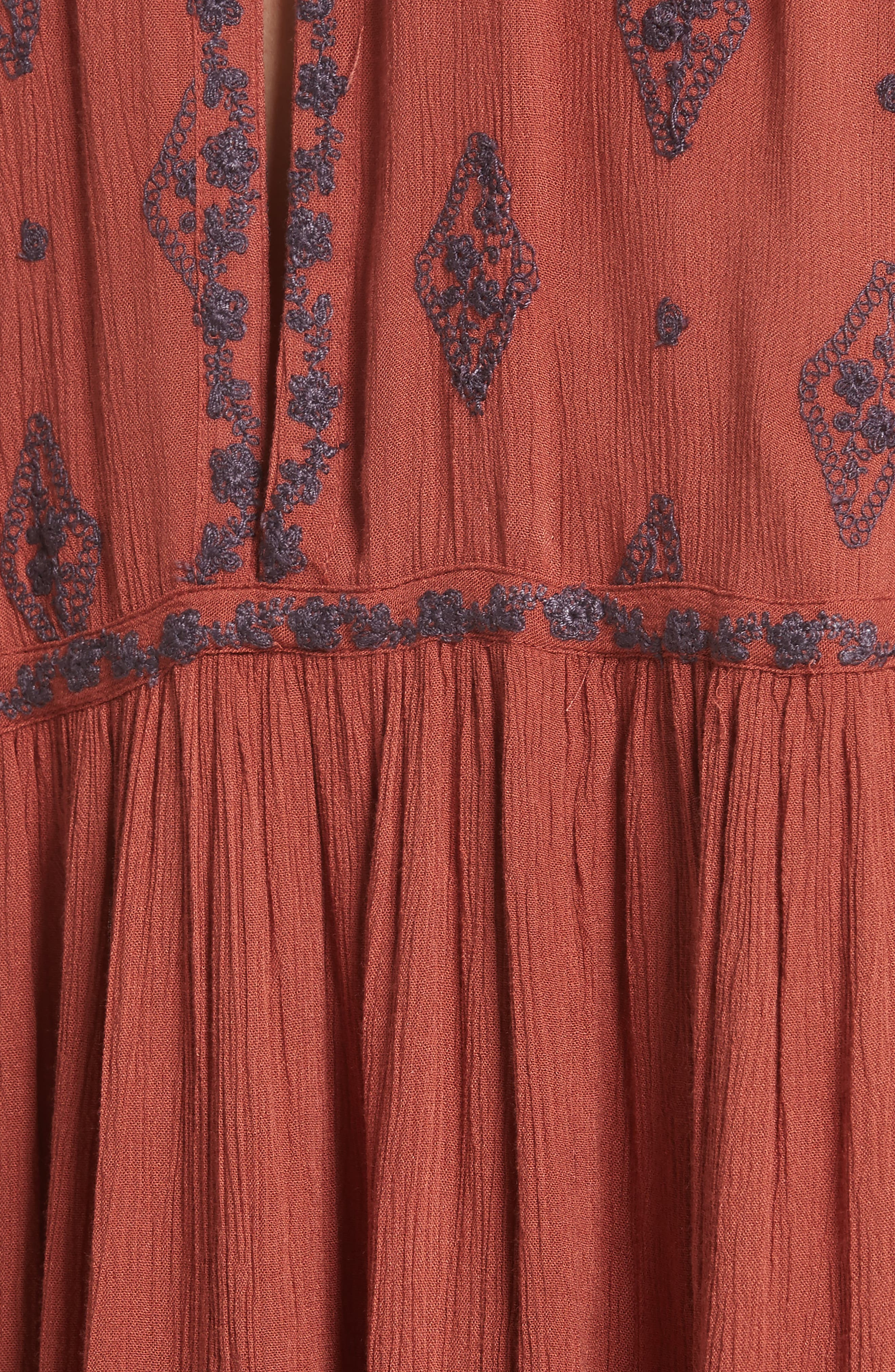 Embroidered Bell Sleeve Top,                             Alternate thumbnail 5, color,                             Cinnamon