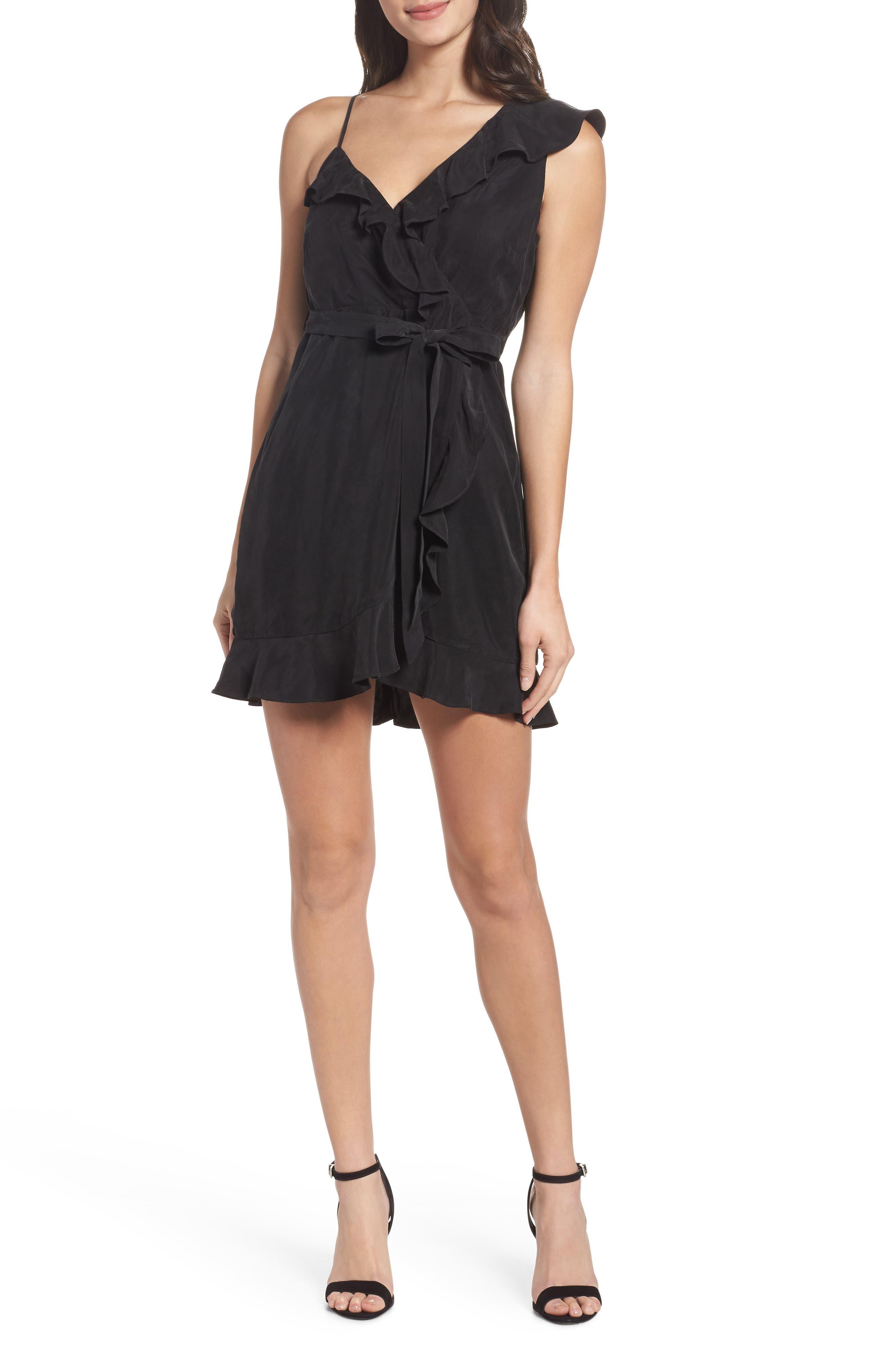 Milly One-Shoulder Wrap Dress,                             Main thumbnail 1, color,                             Black