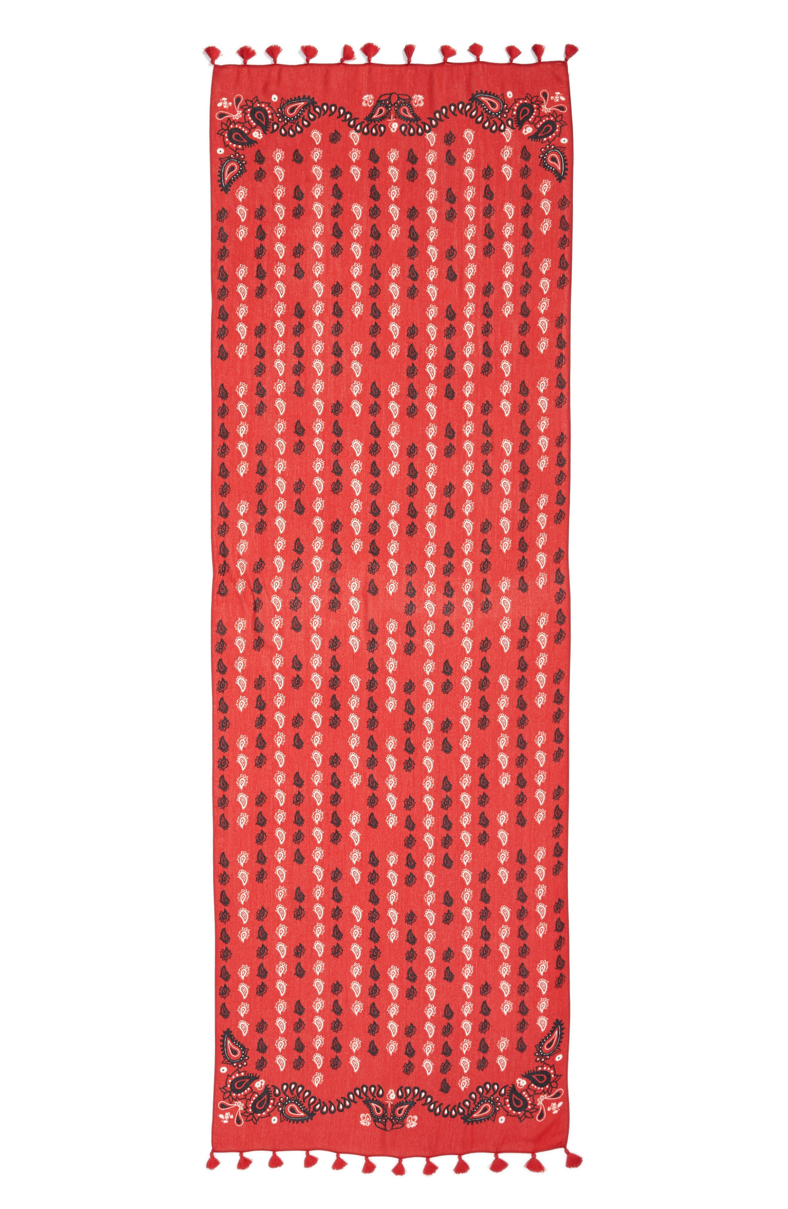 Vertical Paisley Oblong Scarf,                             Alternate thumbnail 2, color,                             Poppy Red