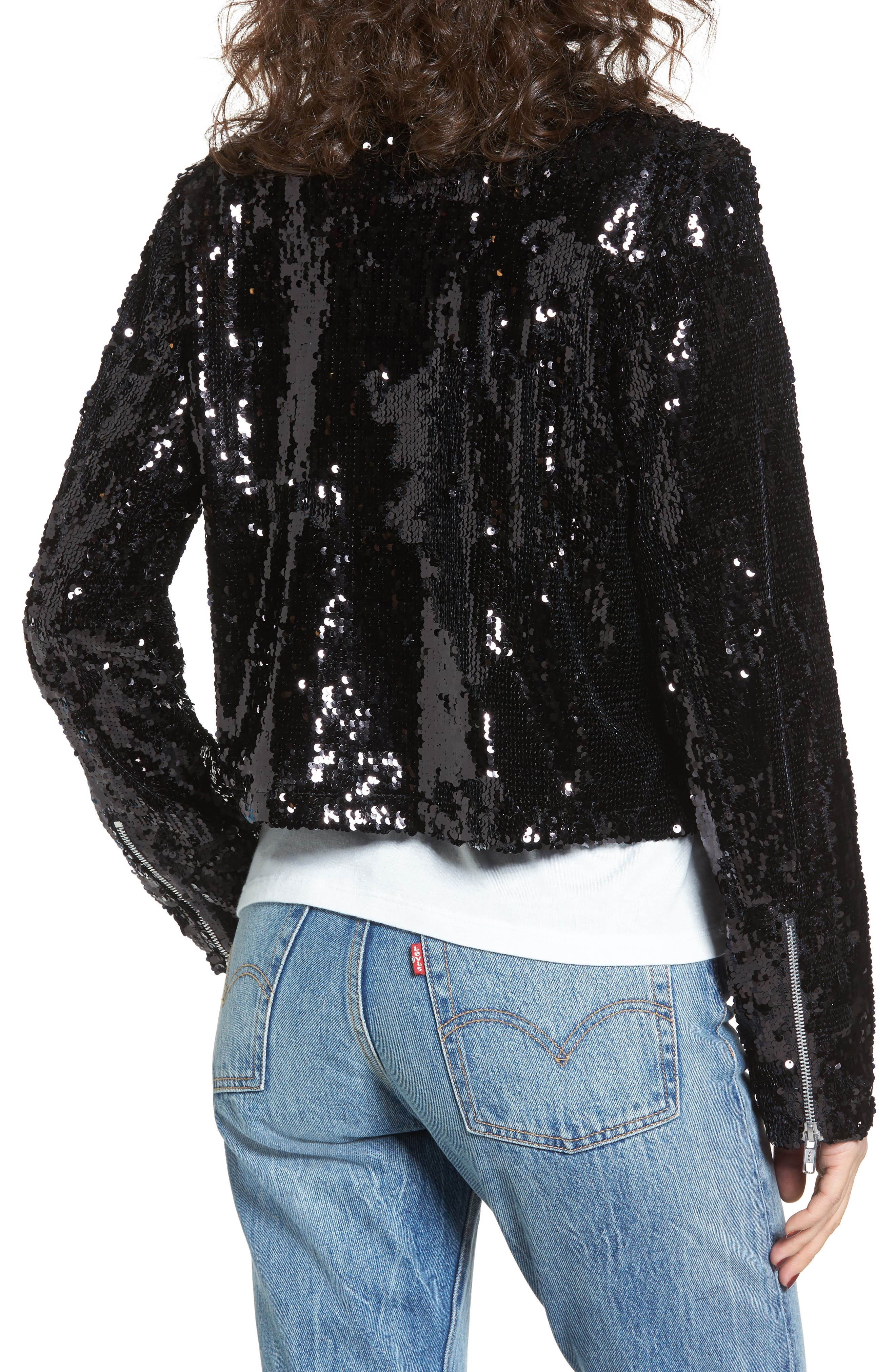 Bigby Sequin Moto Jacket,                             Alternate thumbnail 2, color,                             Black