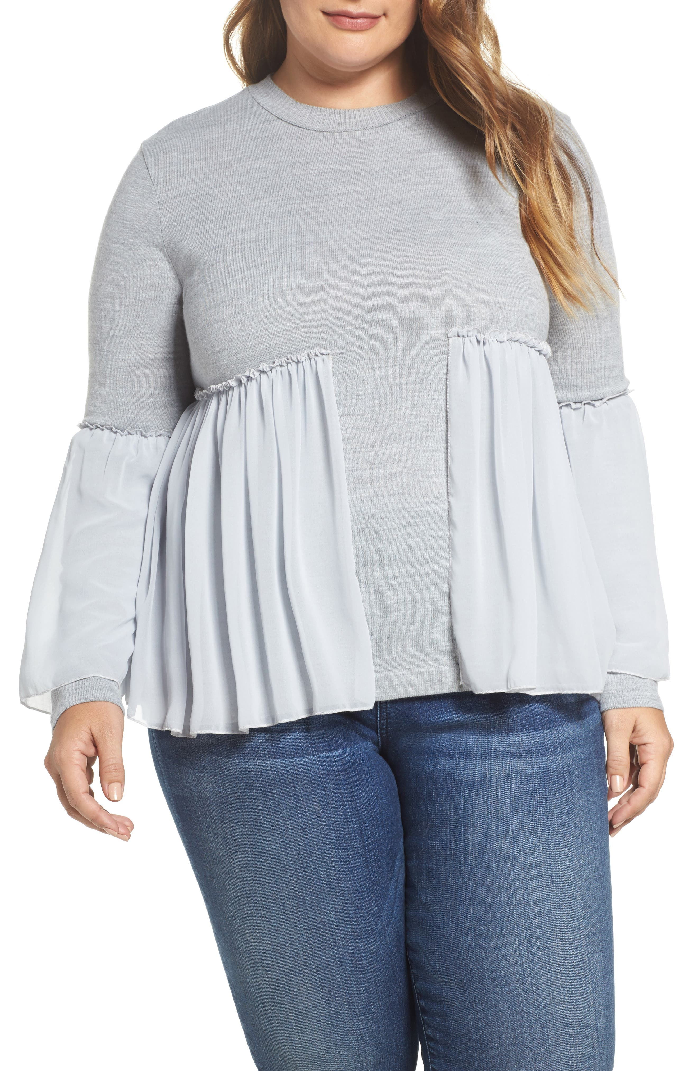 Smocked Chiffon Contrast Sweater,                             Main thumbnail 1, color,                             Grey