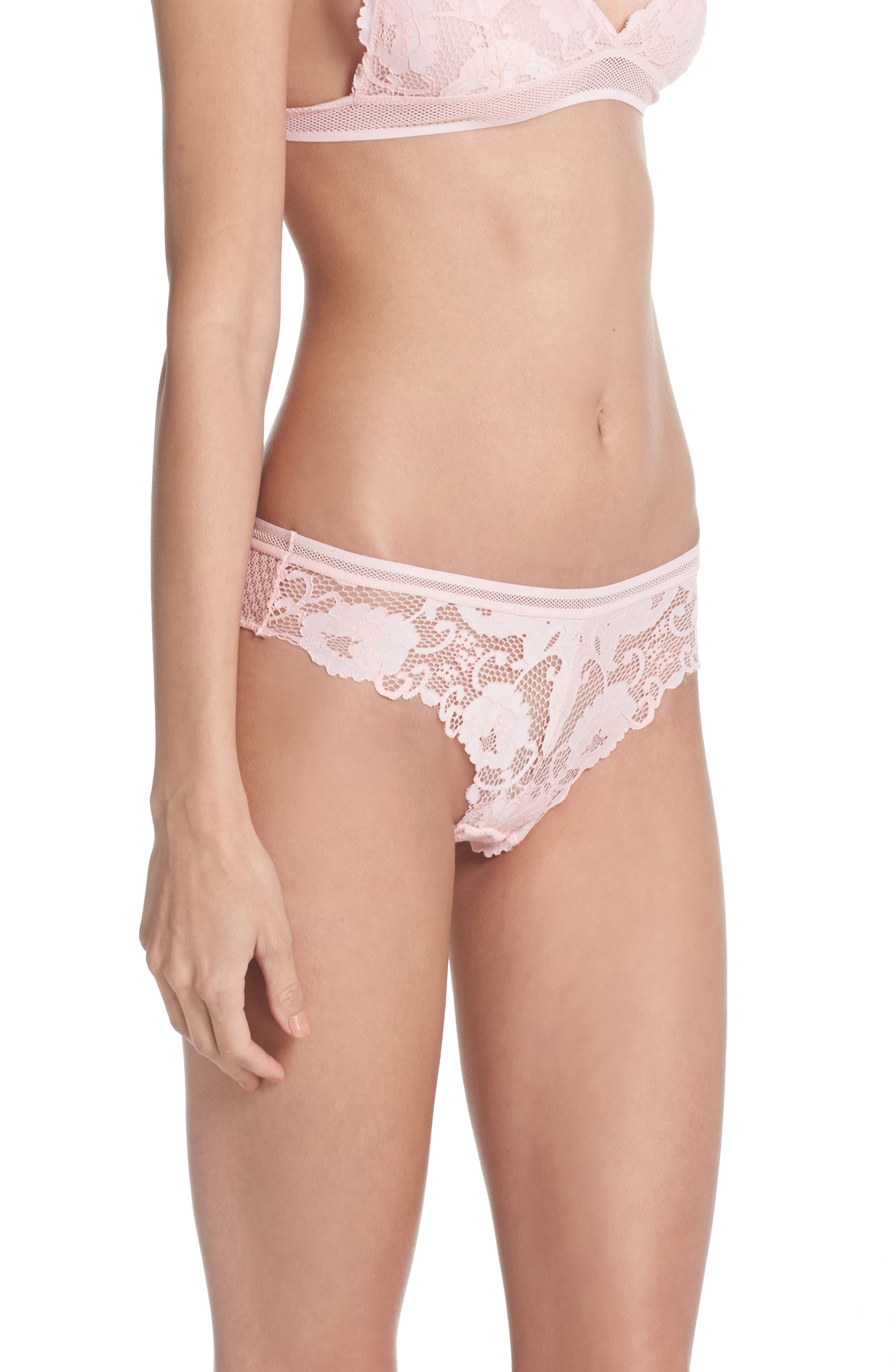 Lace Thong,                             Alternate thumbnail 3, color,                             Dusty Pink