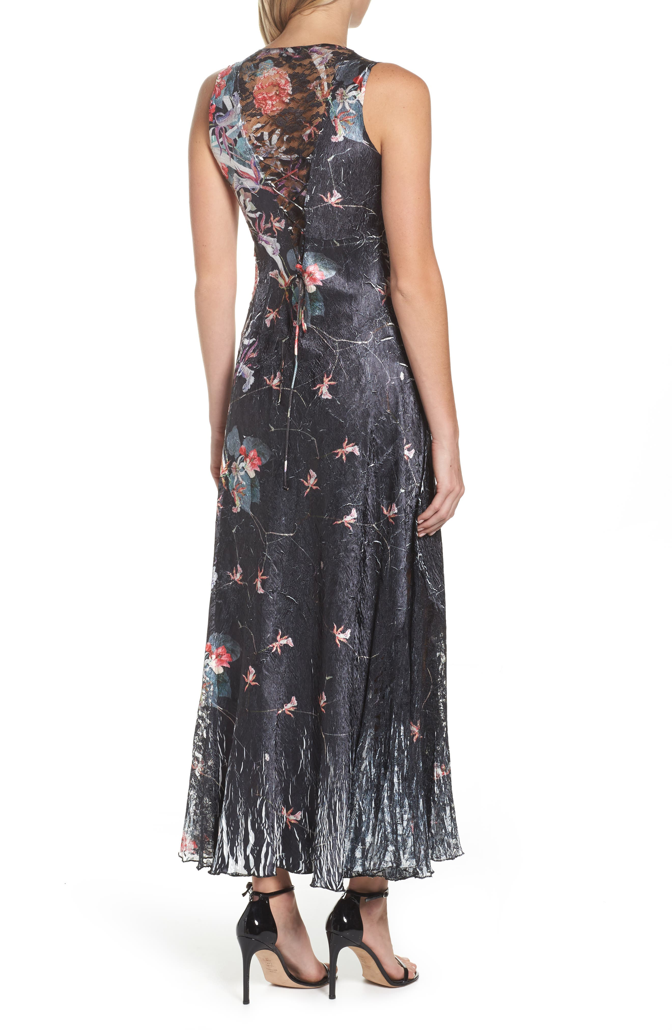 Lace-Up Back Print Maxi Dress with Wrap,                             Alternate thumbnail 2, color,                             Black Oasis