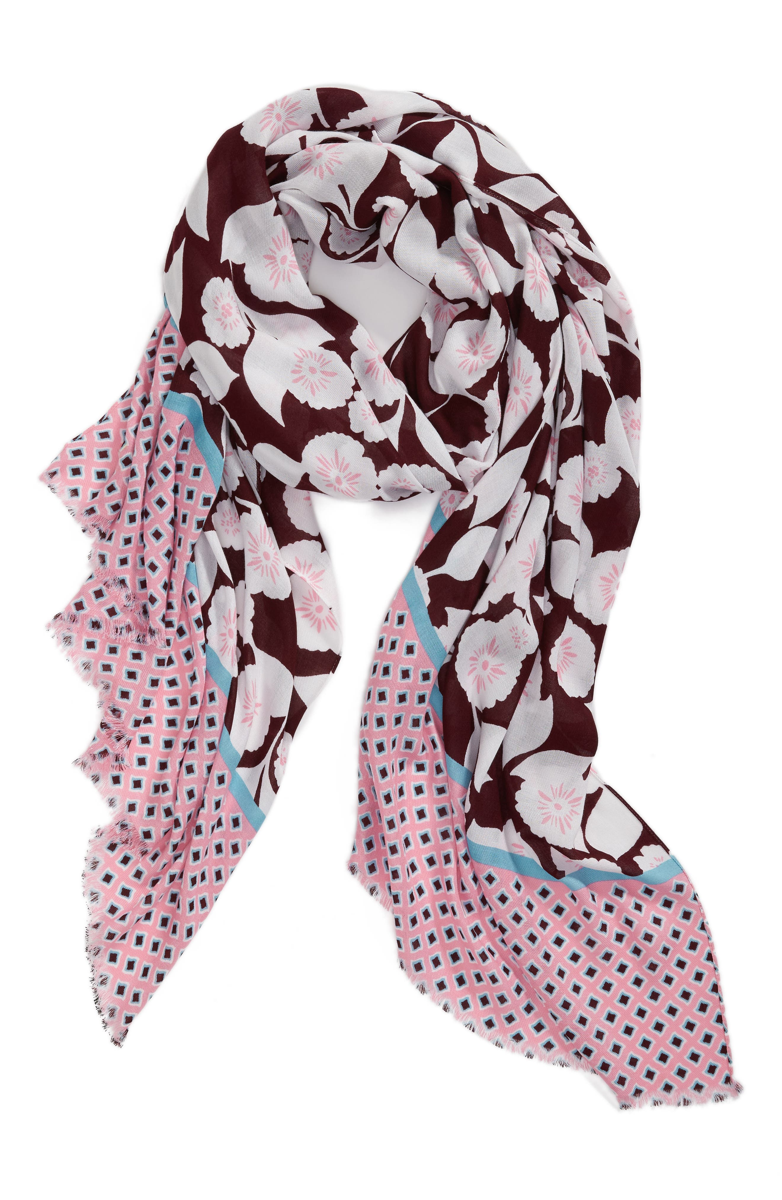 swinging floral scarf,                             Alternate thumbnail 3, color,                             Parisian Pink