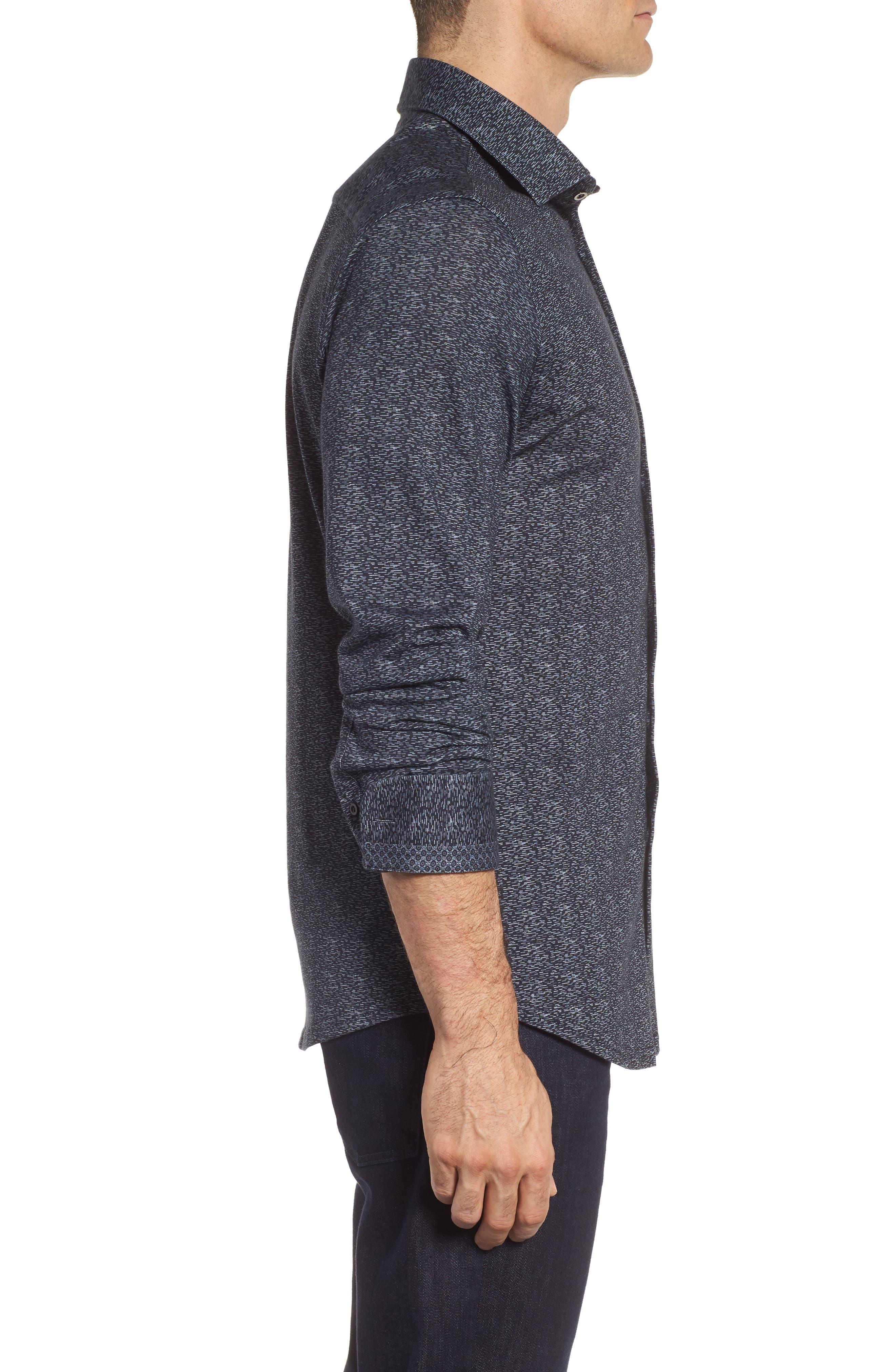 Mélange Knit Sport Shirt,                             Alternate thumbnail 3, color,                             Black
