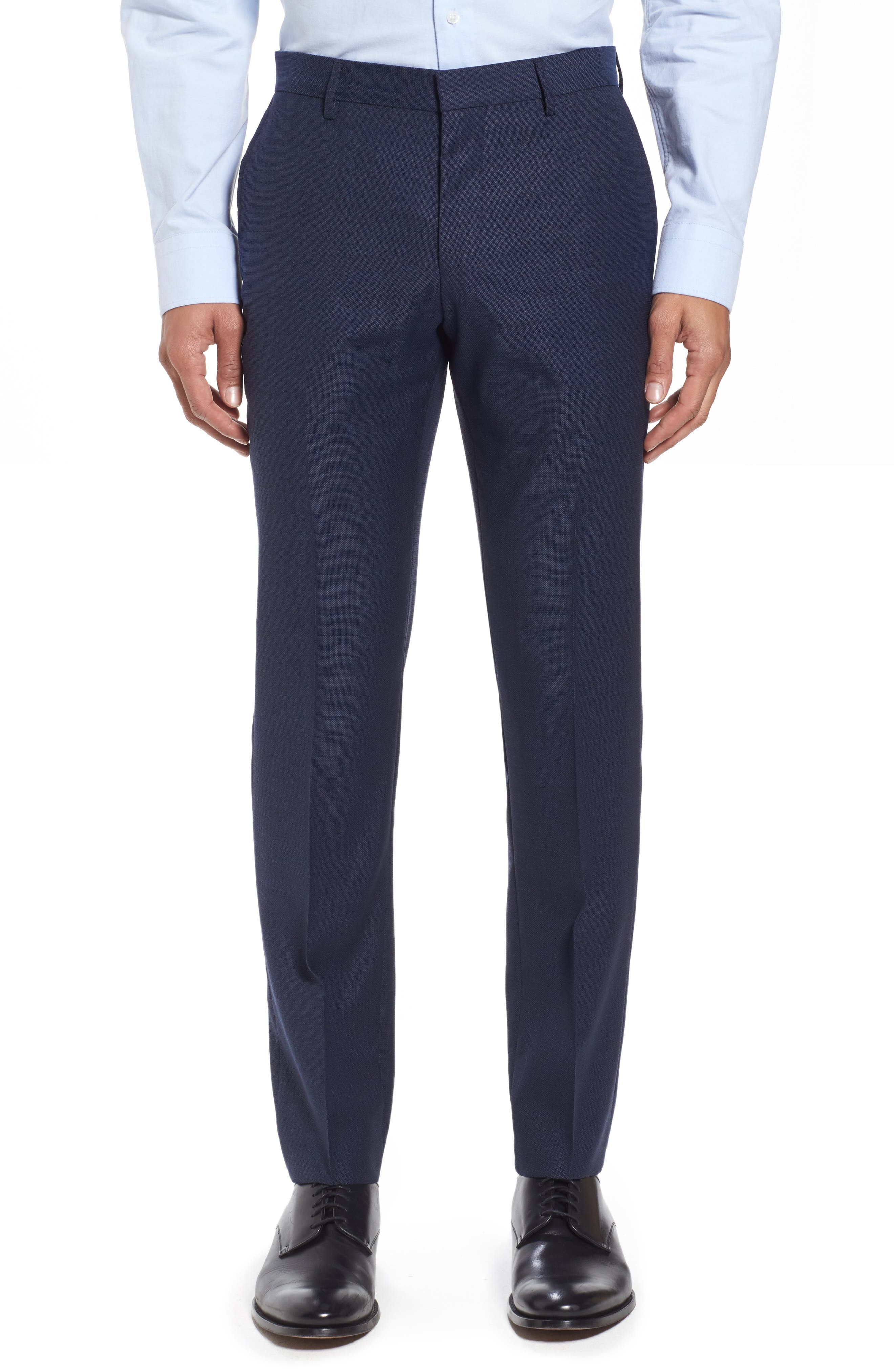Blake Flat Front Solid Wool Trousers,                         Main,                         color, Dark Blue