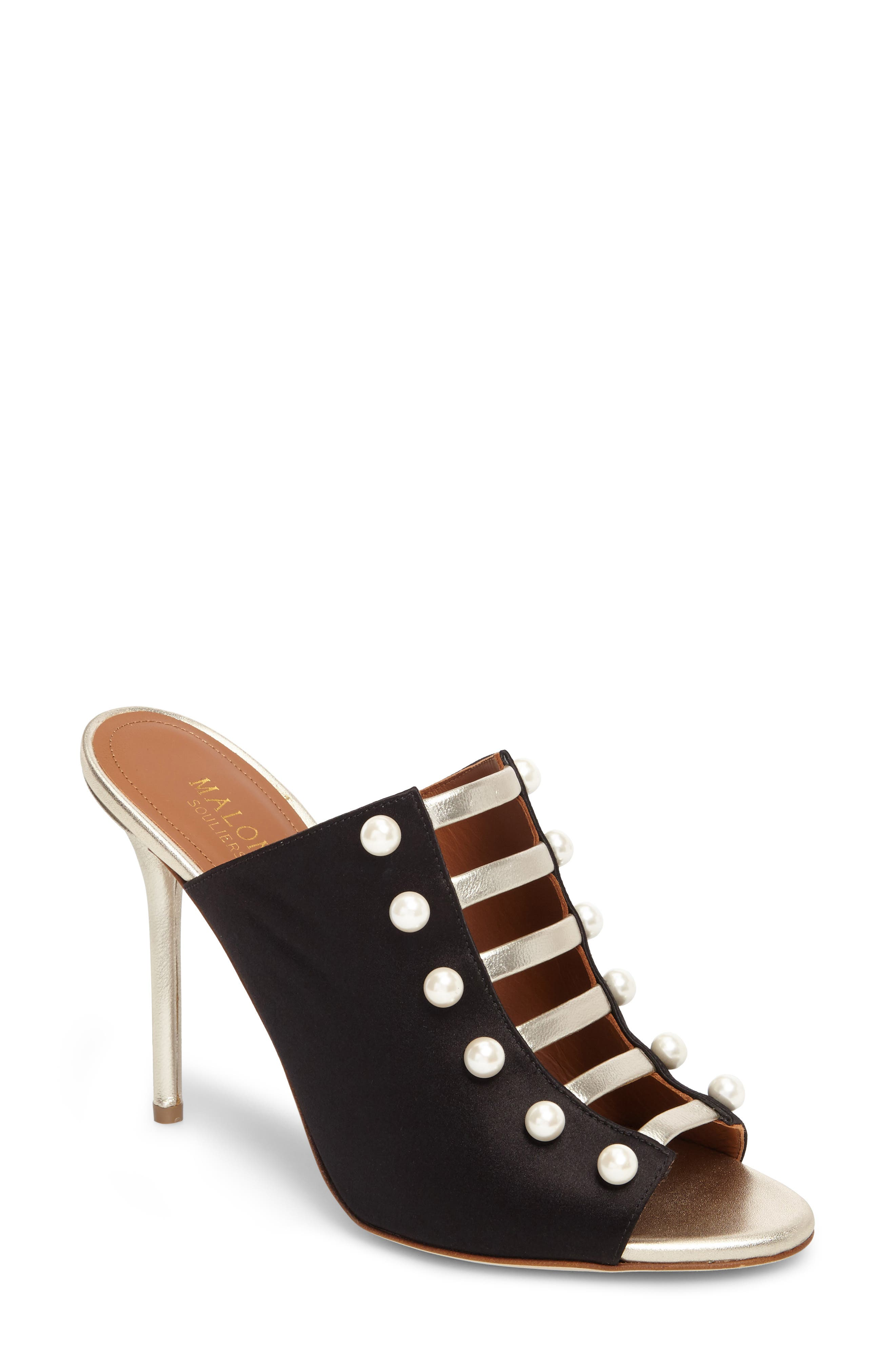 Imitation Pearl Studded Slide,                         Main,                         color, Black/ Platino