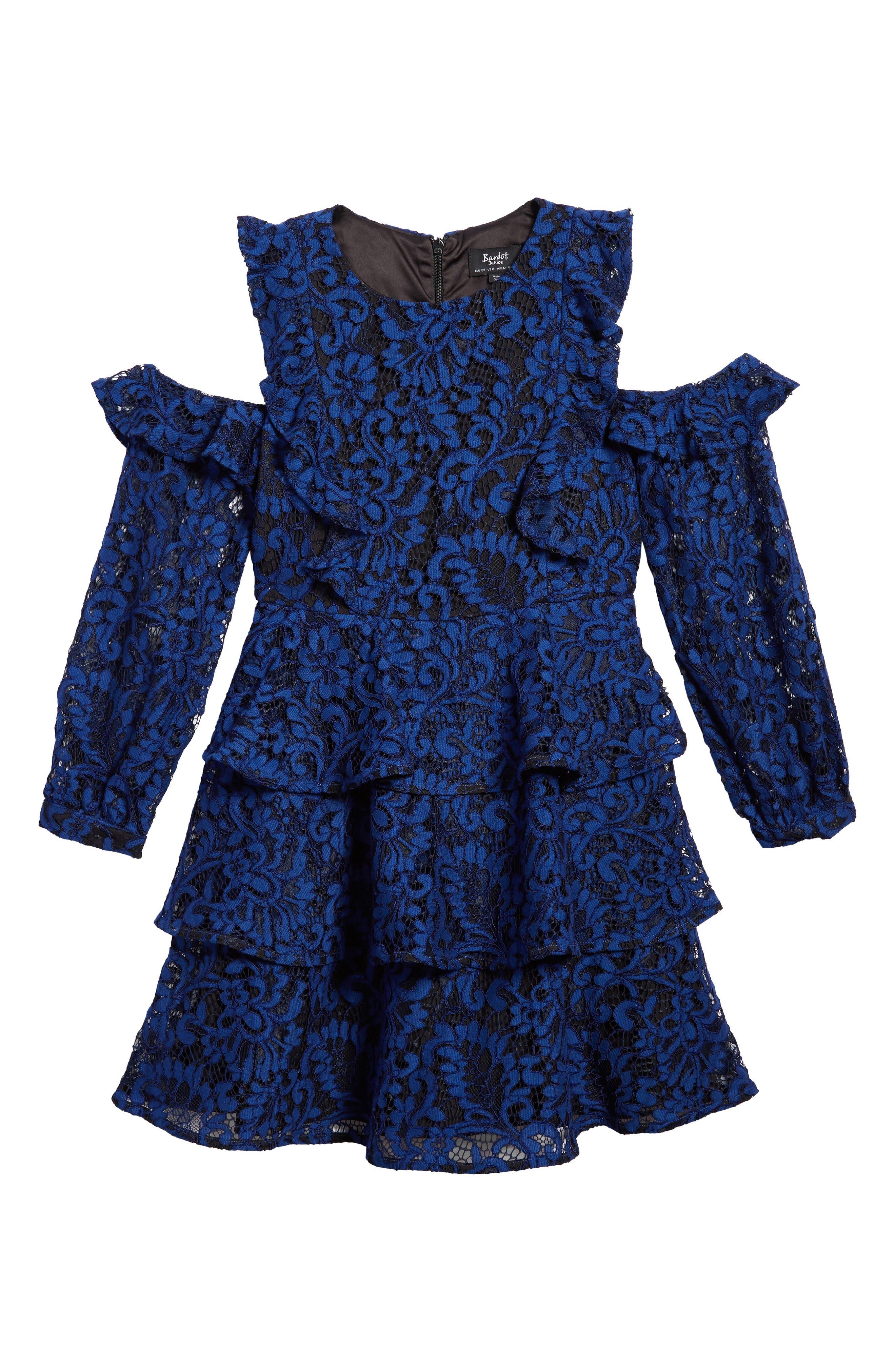 Ruffle Lace Cold Shoulder Dress,                         Main,                         color, Mezzarine Blue
