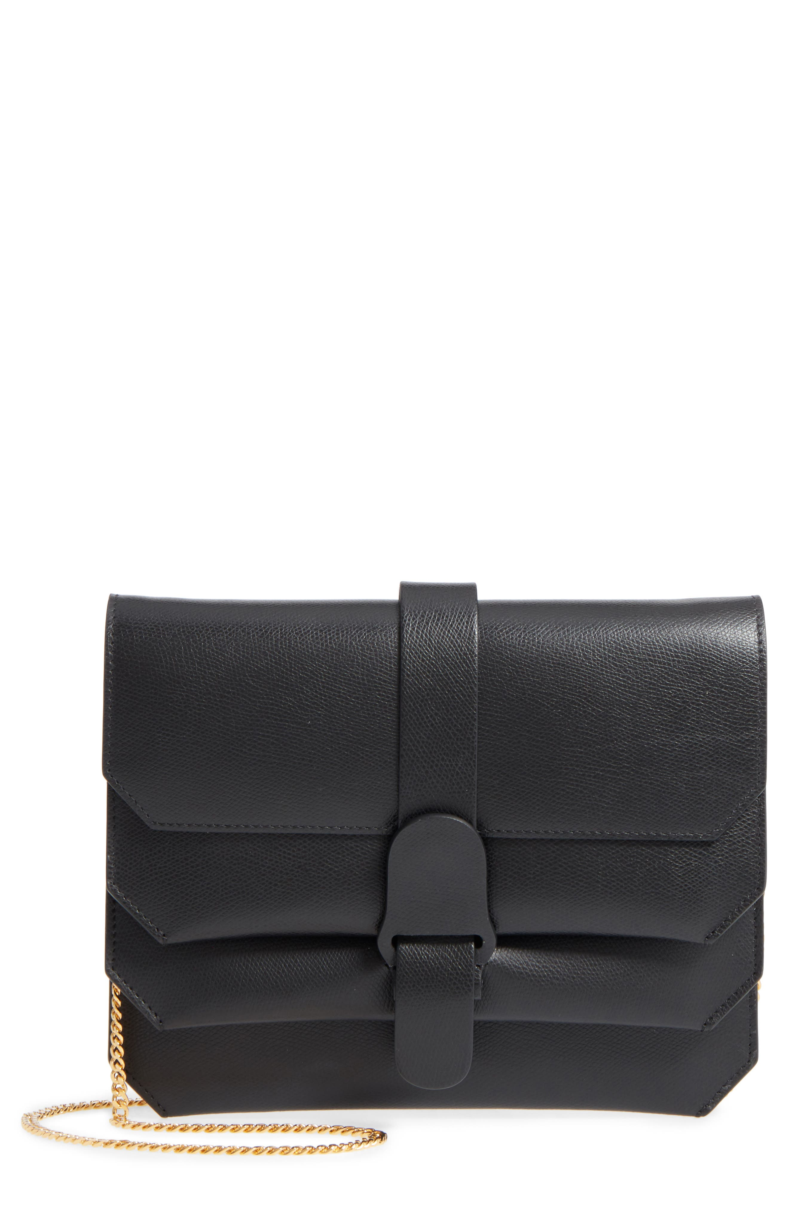 Pebbled Leather Crossbody Bag,                         Main,                         color, Noir