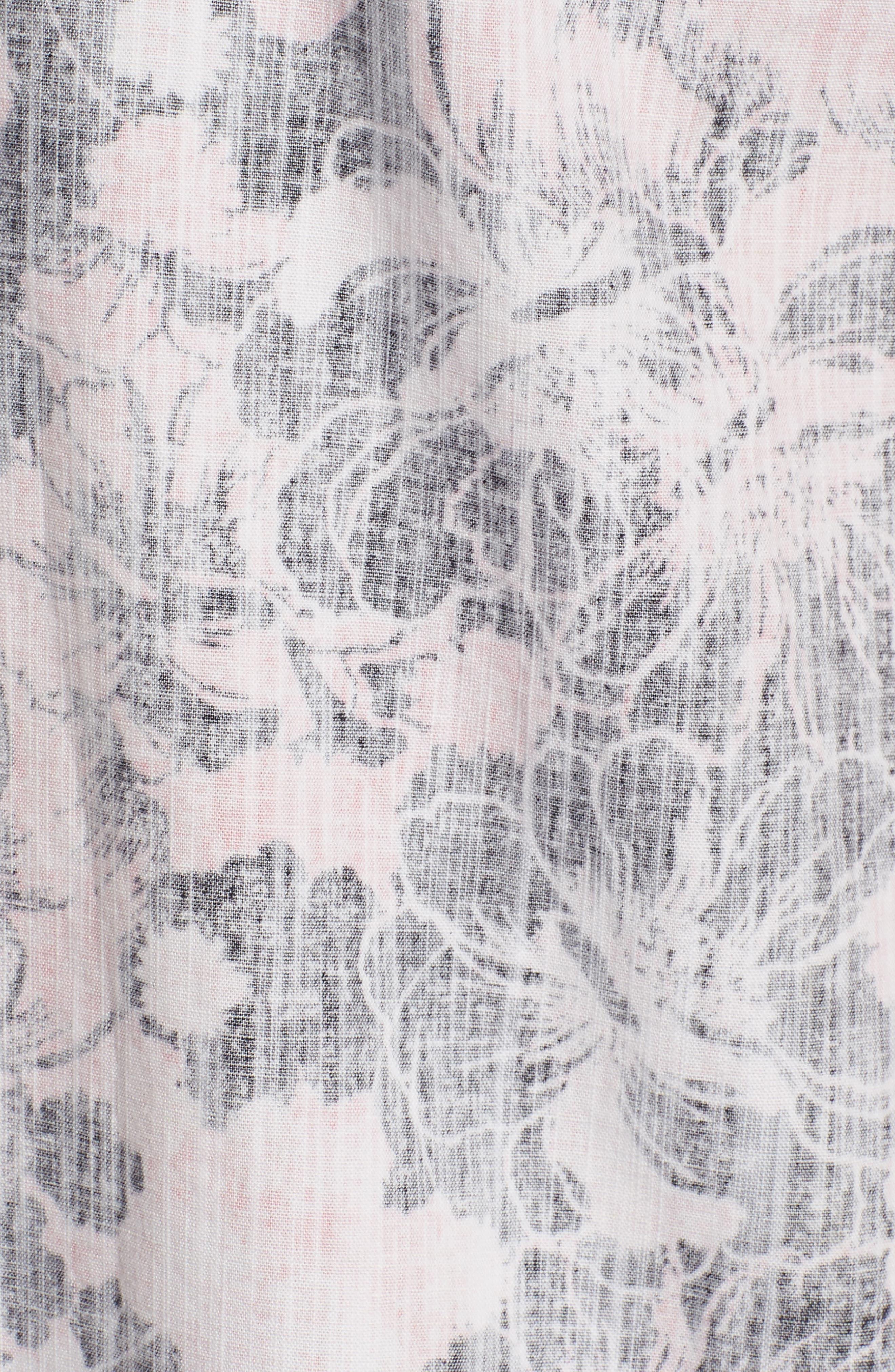 Seaspray Floral Sport Shirt,                             Alternate thumbnail 5, color,                             Soft Flamingo