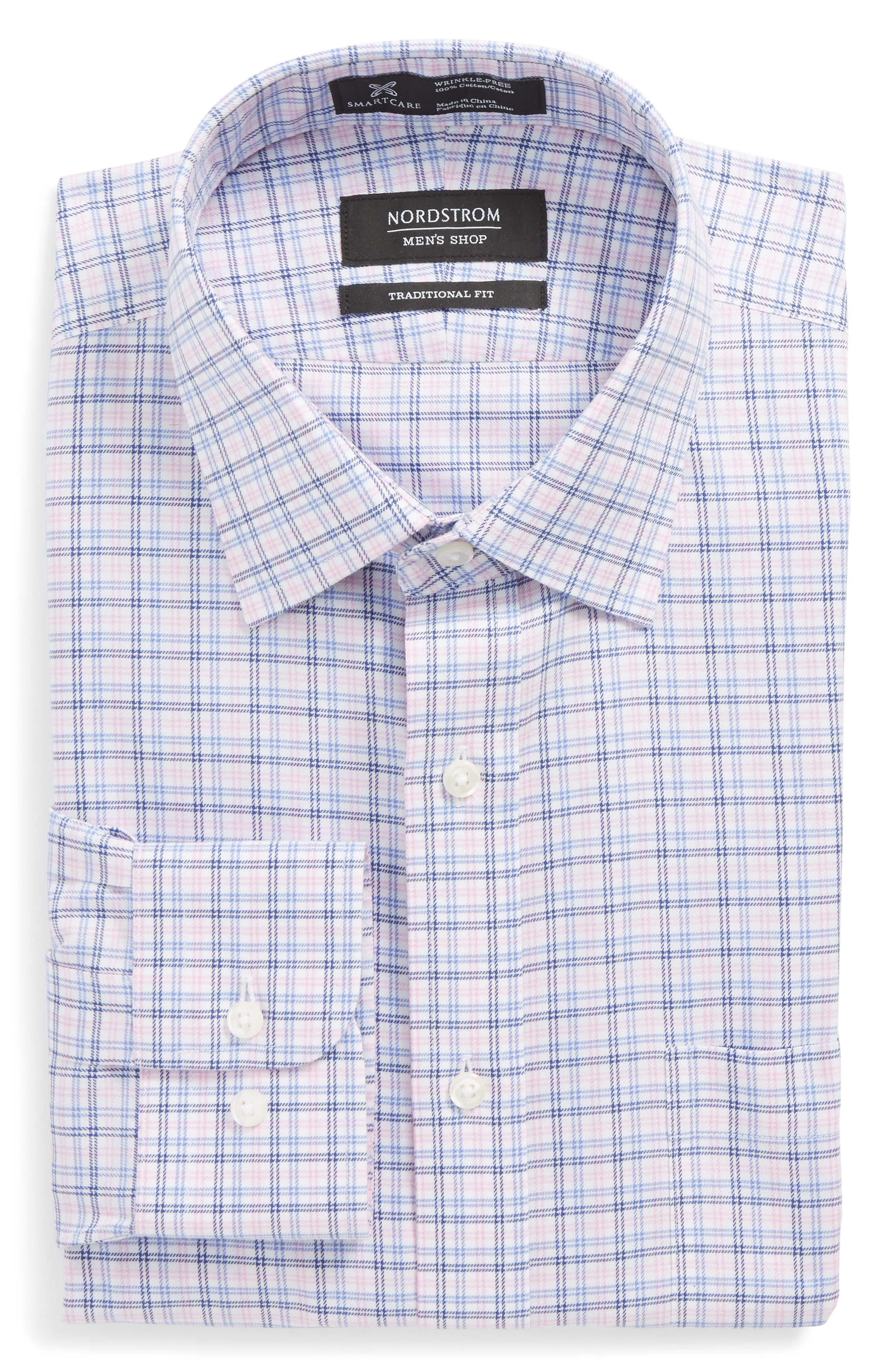 Smartcare<sup>™</sup> Traditional Fit Check Dress Shirt,                         Main,                         color, Pink Lavender