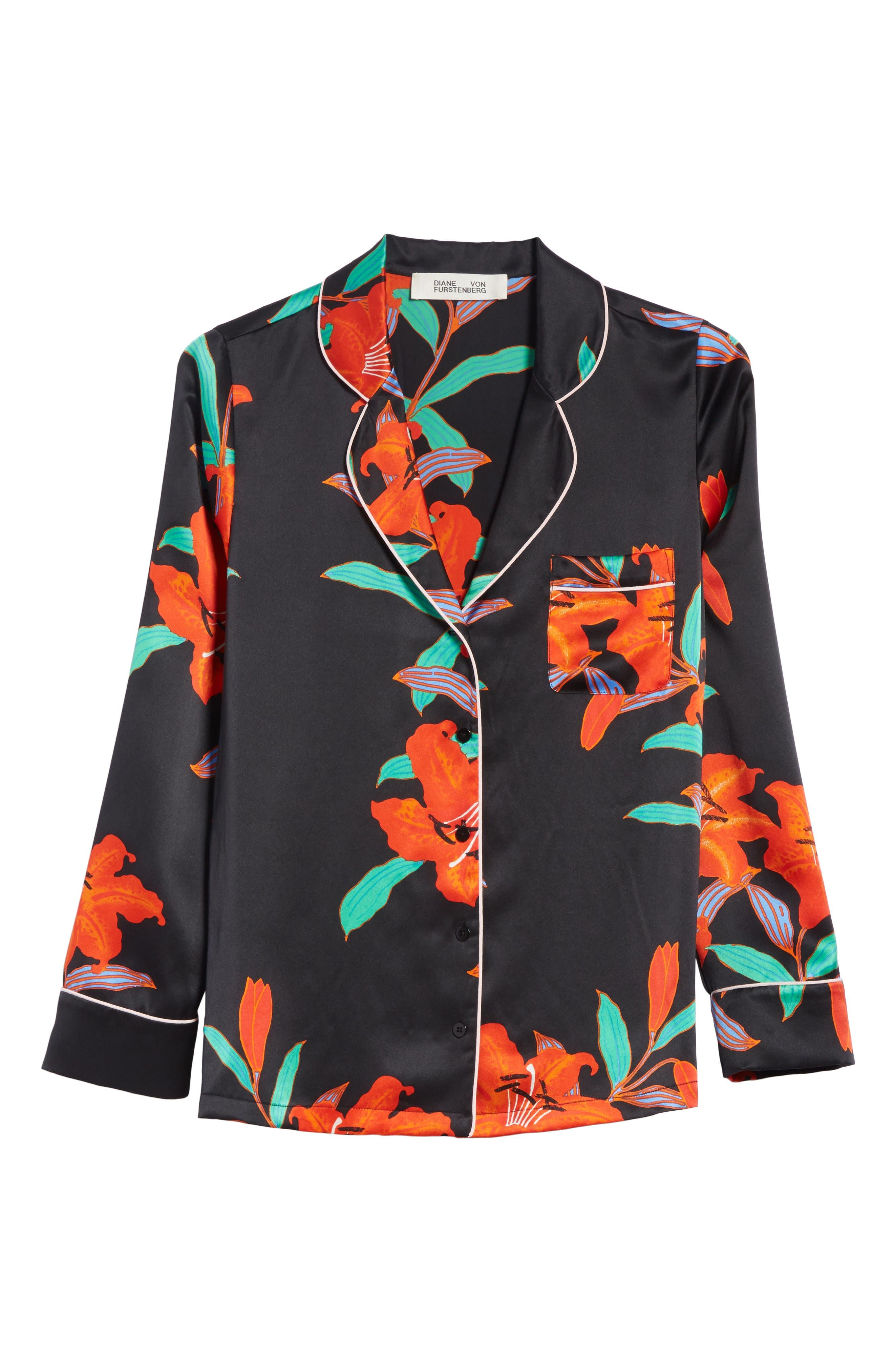 Pajama Silk Shirt,                             Alternate thumbnail 6, color,                             Argos Black/ Powder Pink