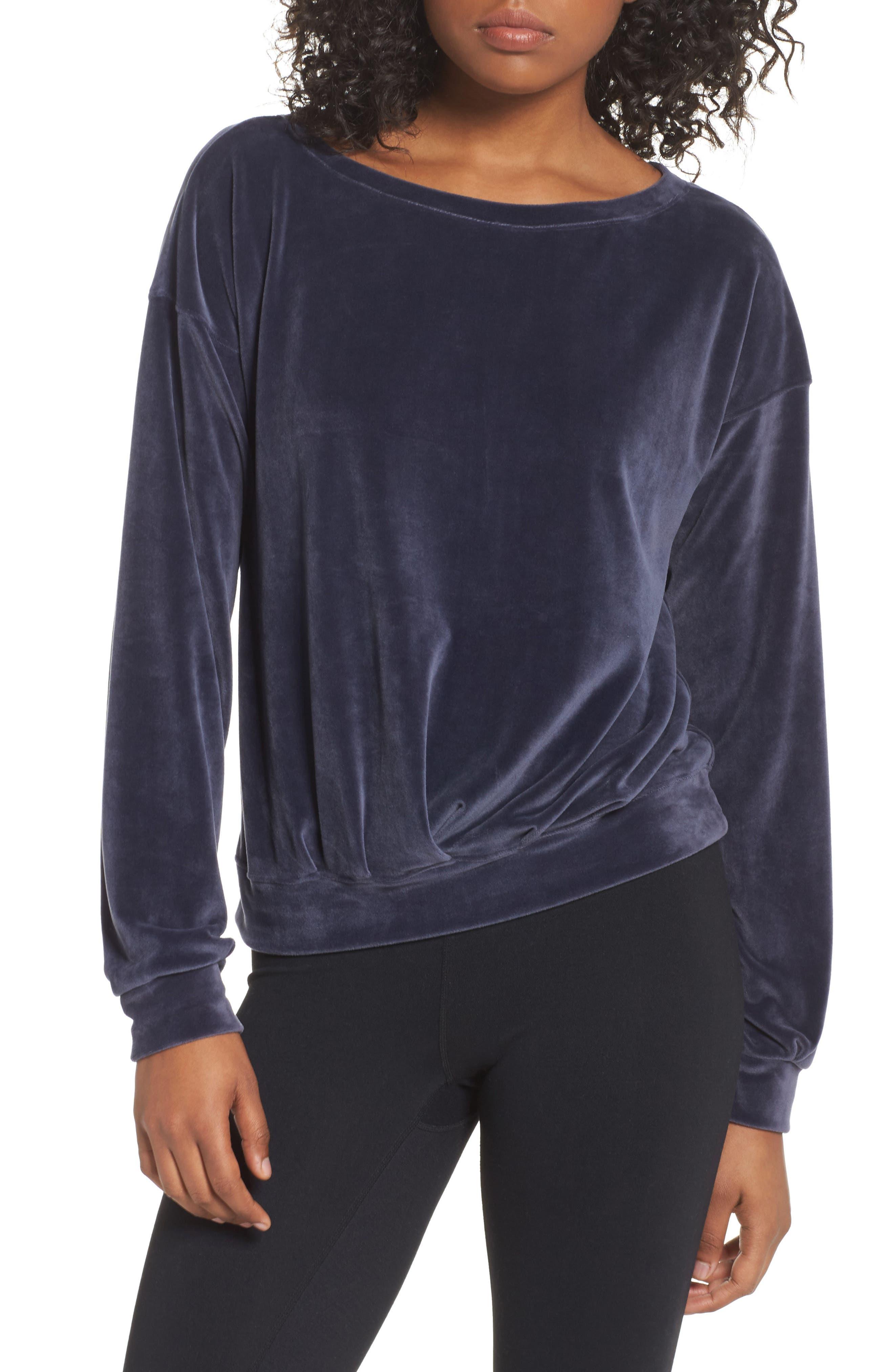 Dani Velour Pullover,                         Main,                         color, Grey Slate