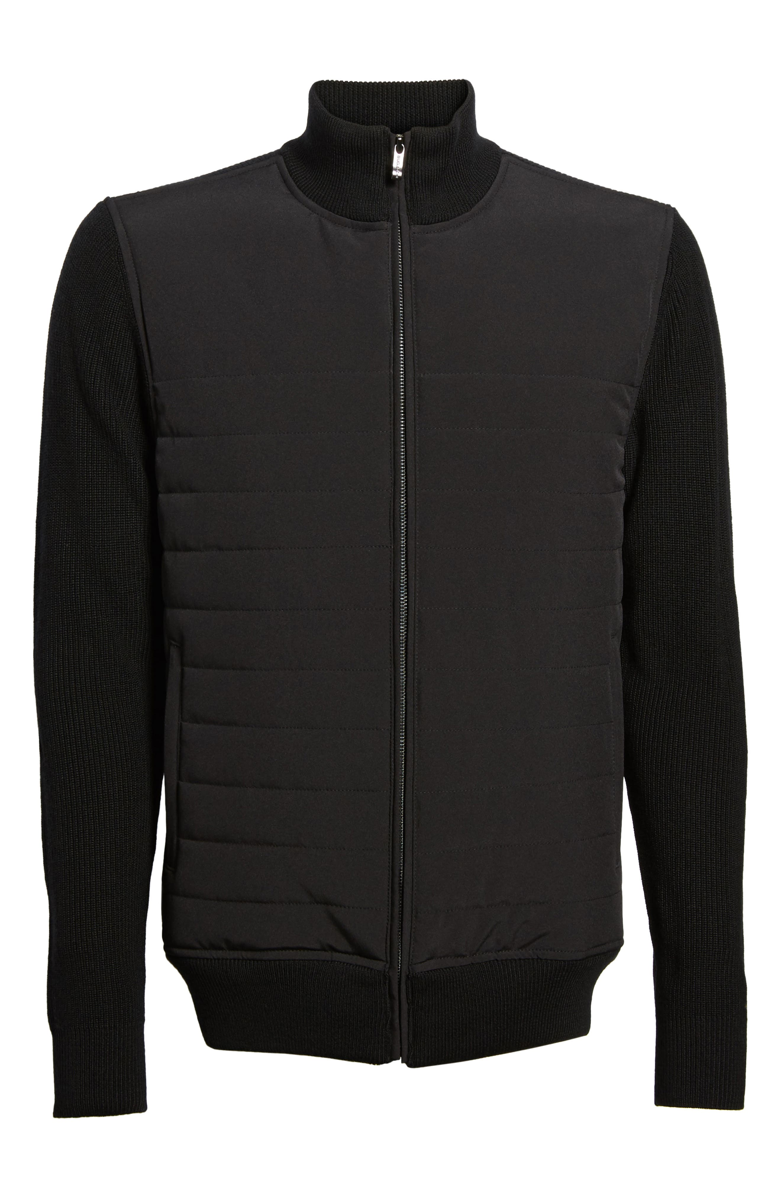 Quilted Front Wool Zip Front Sweater Jacket,                             Alternate thumbnail 6, color,                             Black