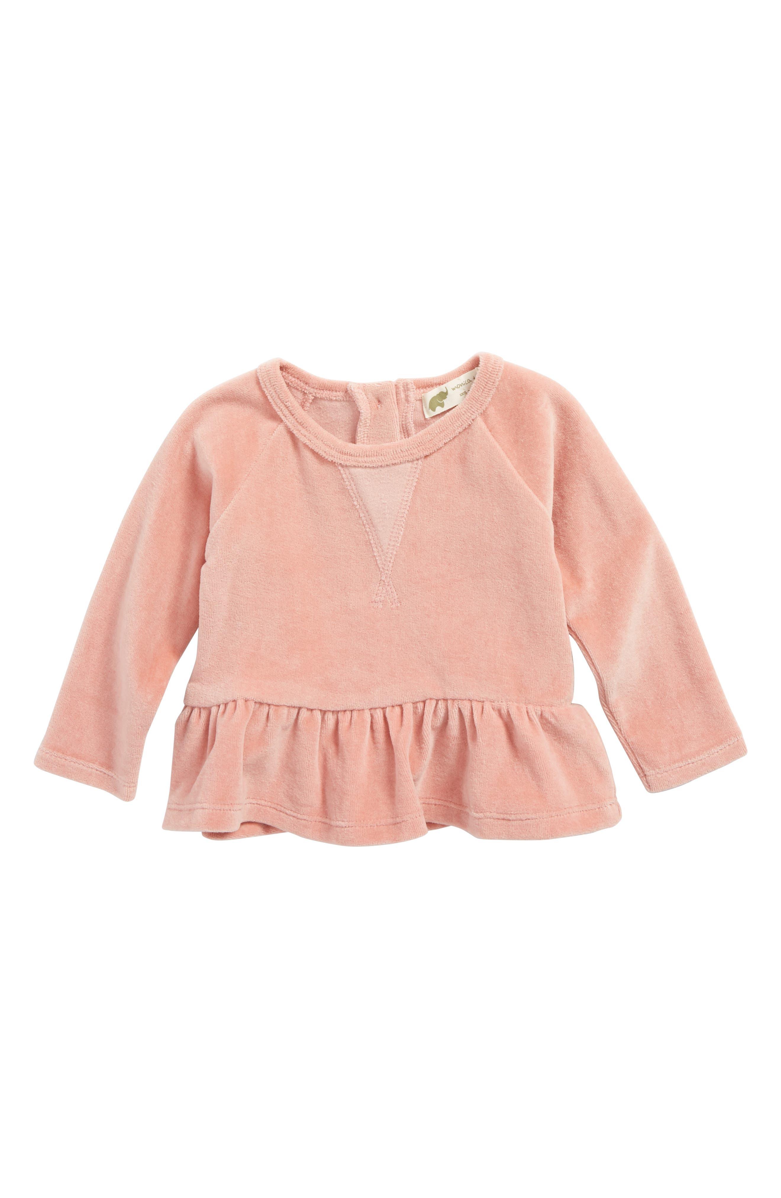Monica + Andy Organic Cotton Velour Sweatshirt Dress (Baby Girls)