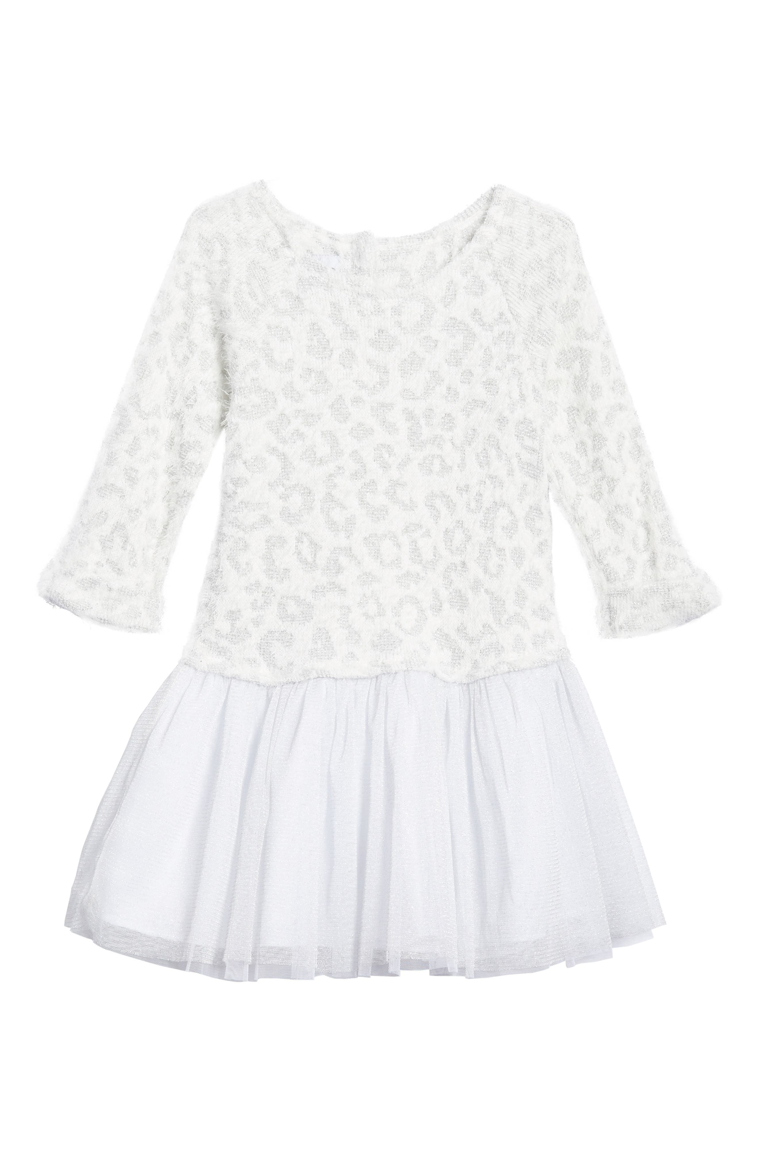 Animal Print Sweater Tutu Dress,                         Main,                         color, White/ Silver
