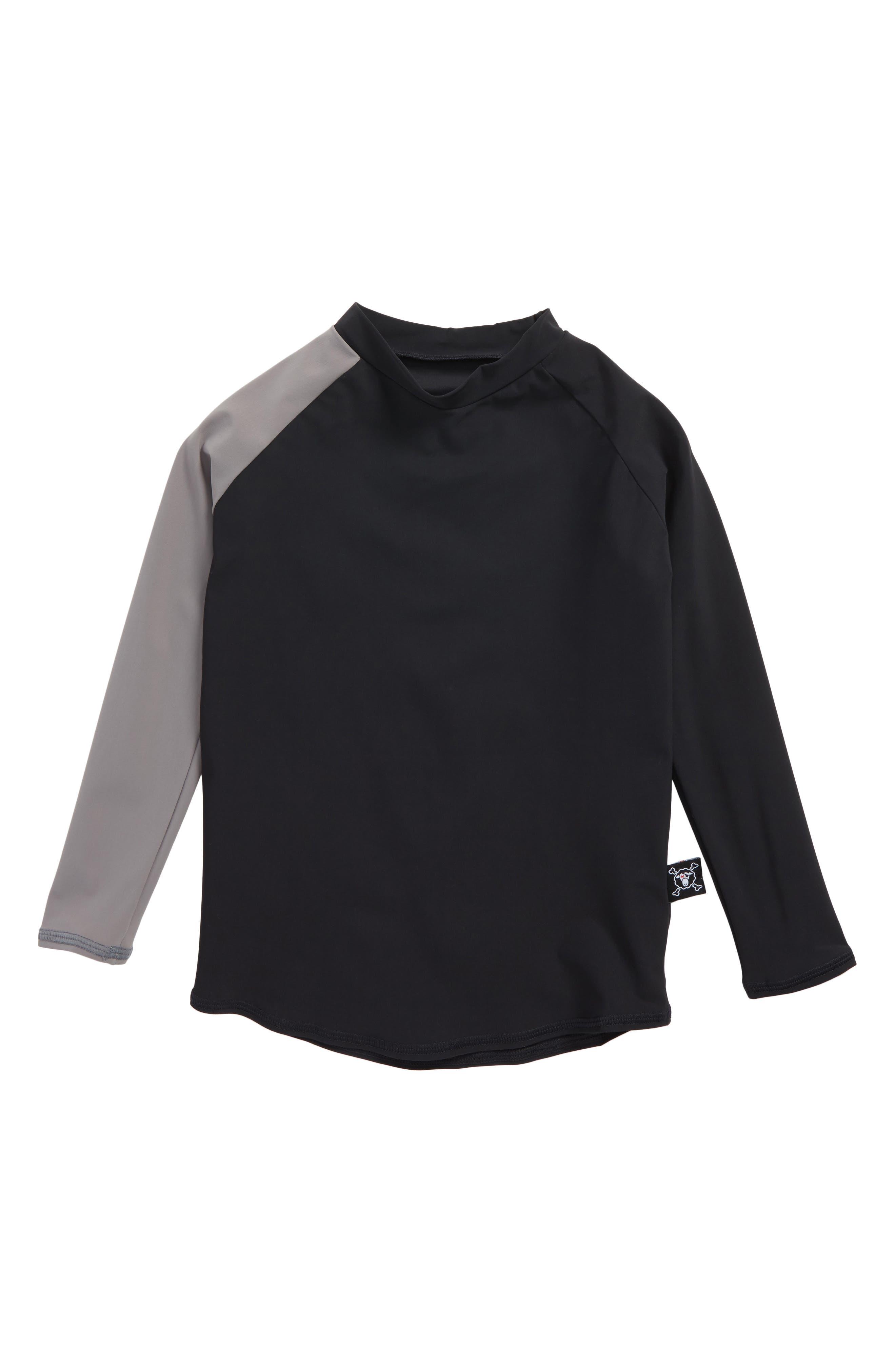 Long Sleeve Rashguard,                         Main,                         color, Black/ Dark Grey