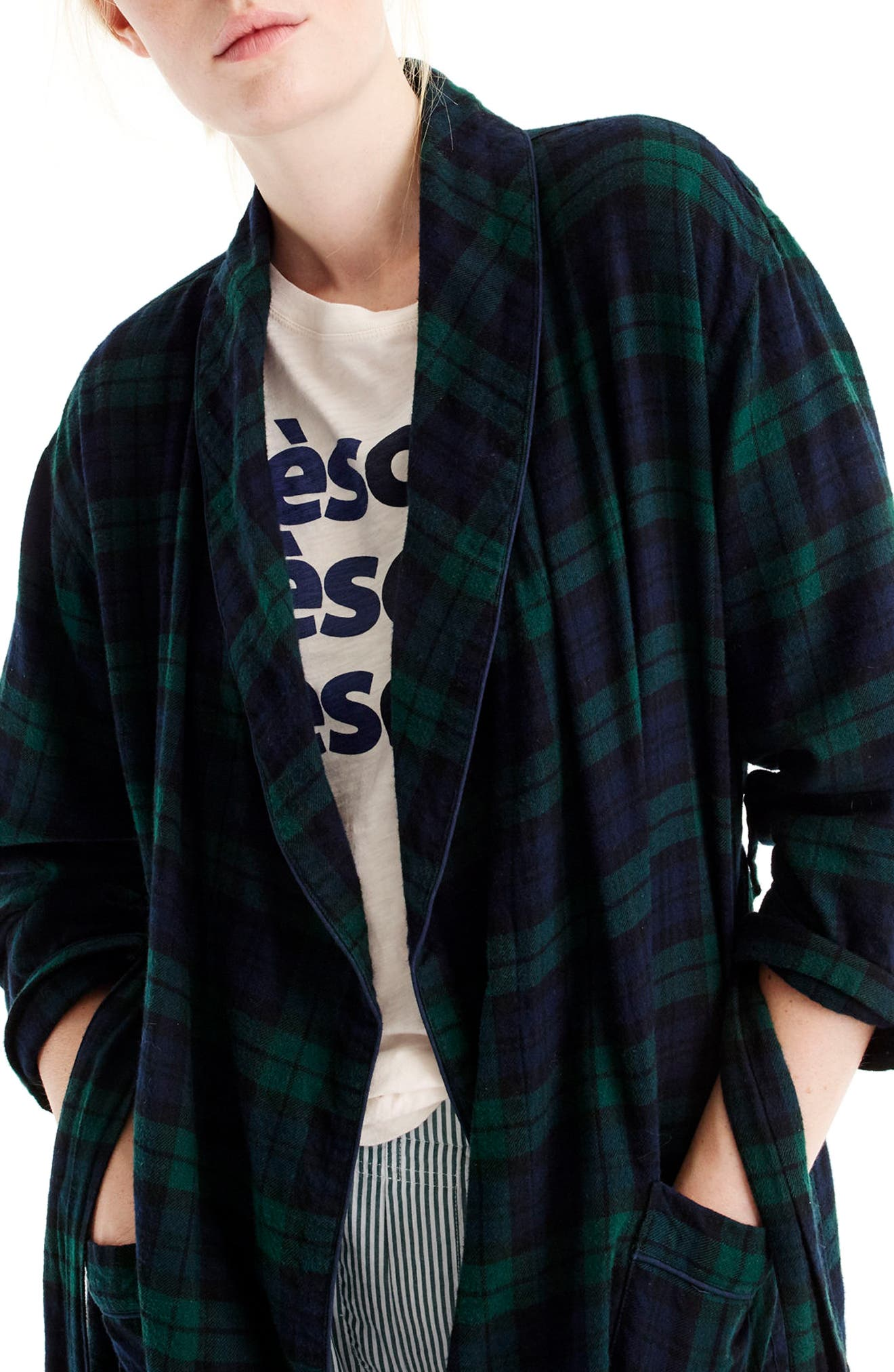 Blackwatch Flannel Short Robe,                             Alternate thumbnail 3, color,                             Midnight