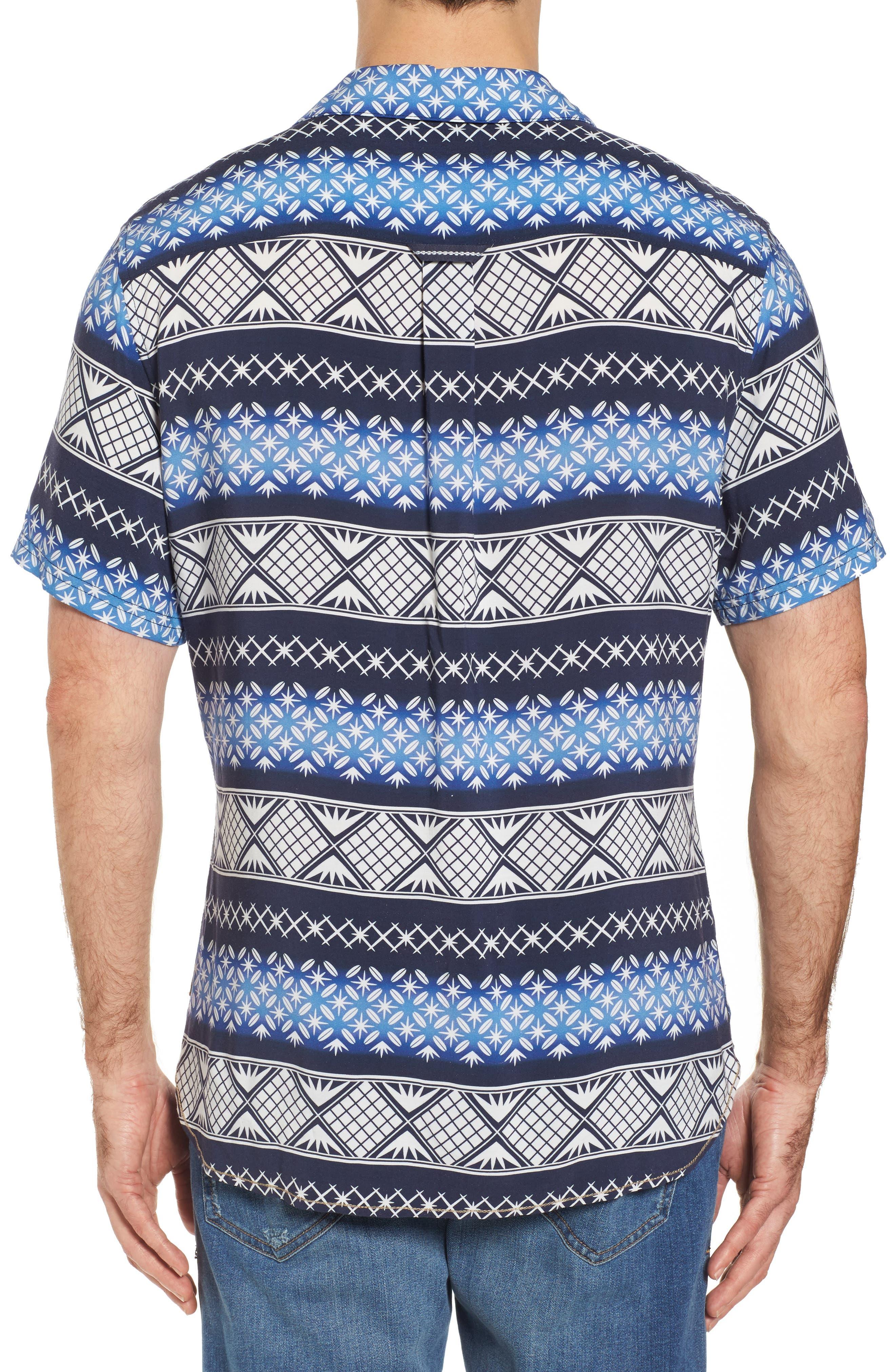 Geo Print Sport Shirt,                             Alternate thumbnail 2, color,                             Navy Blazer