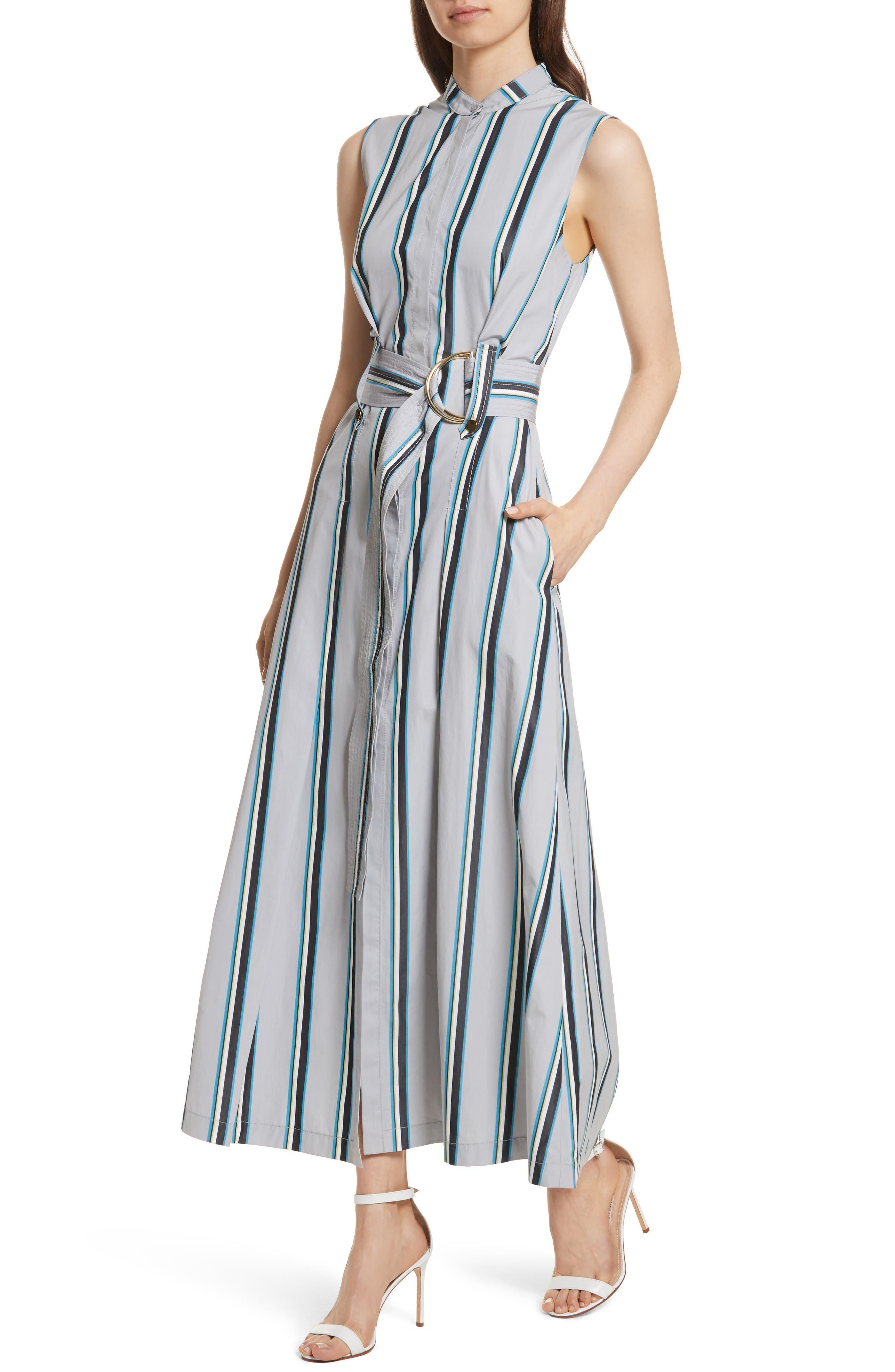 Diane von Furstenberg Stripe Belted Maxi Dress,                             Alternate thumbnail 4, color,                             Smoke Multi