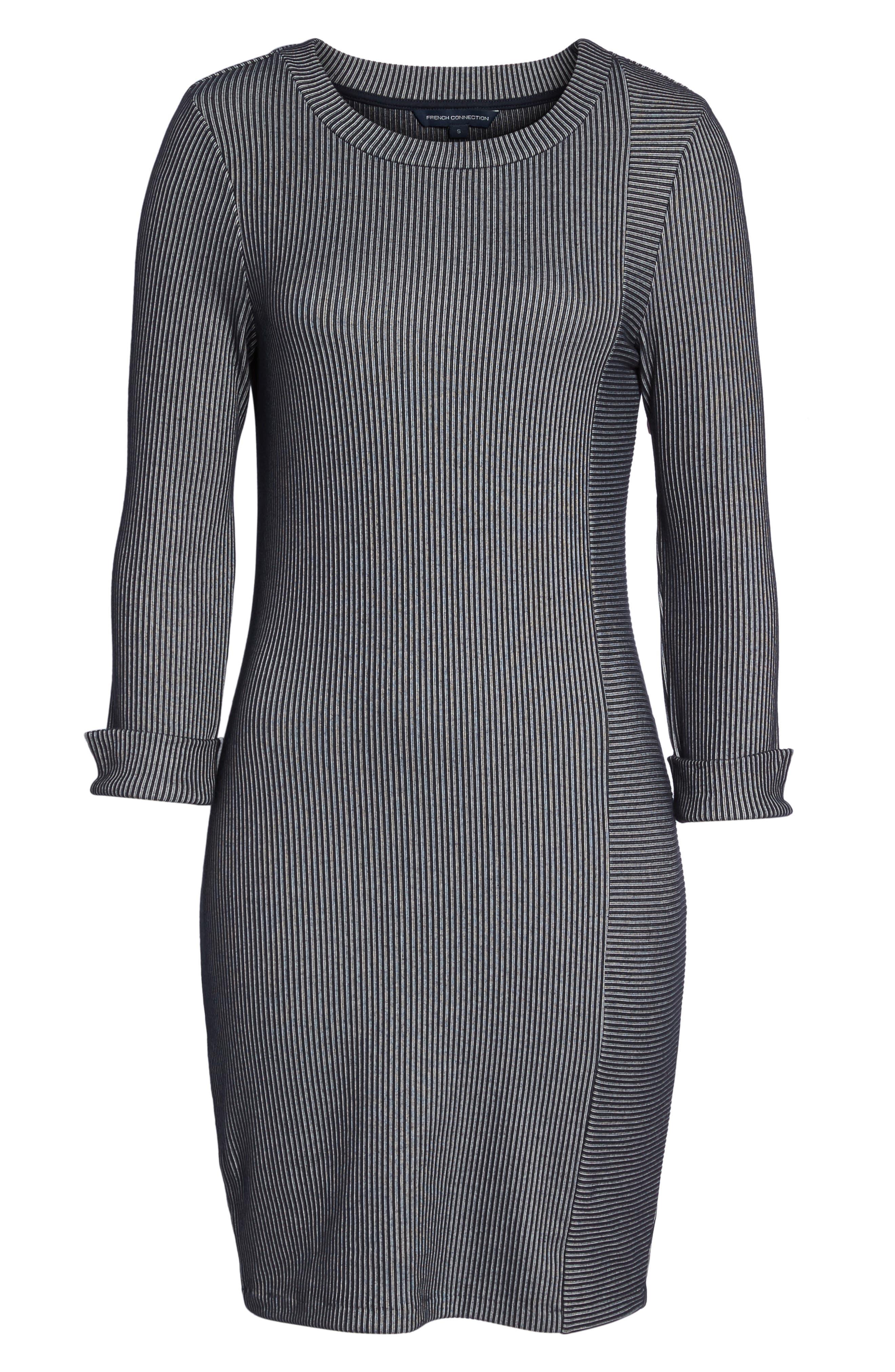 Rosario Jersey Body-Con Dress,                             Alternate thumbnail 6, color,                             Utility Blue/ Linen White