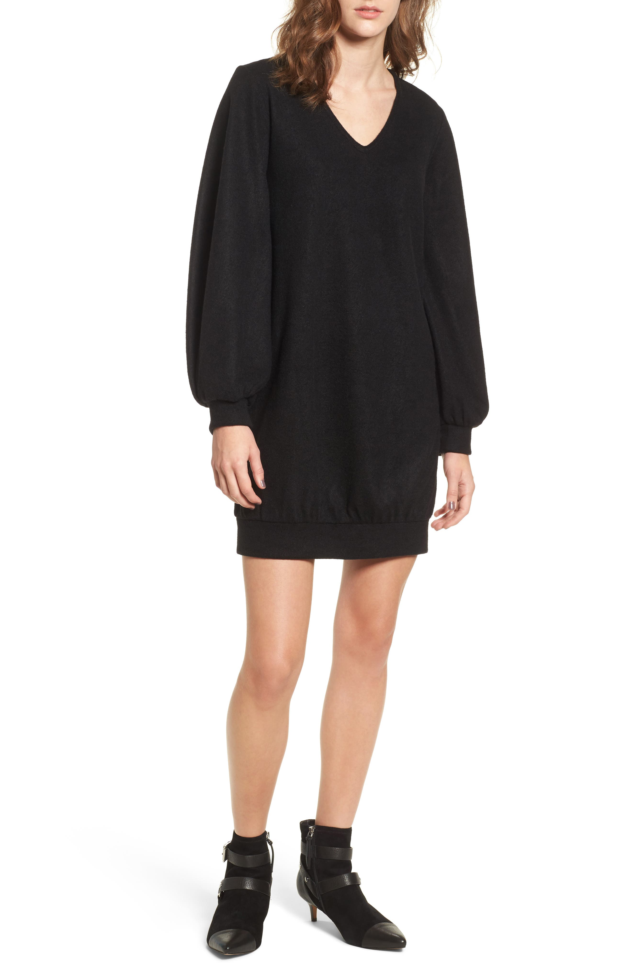 Balloon Sleeve Sweater Dress,                         Main,                         color, Black
