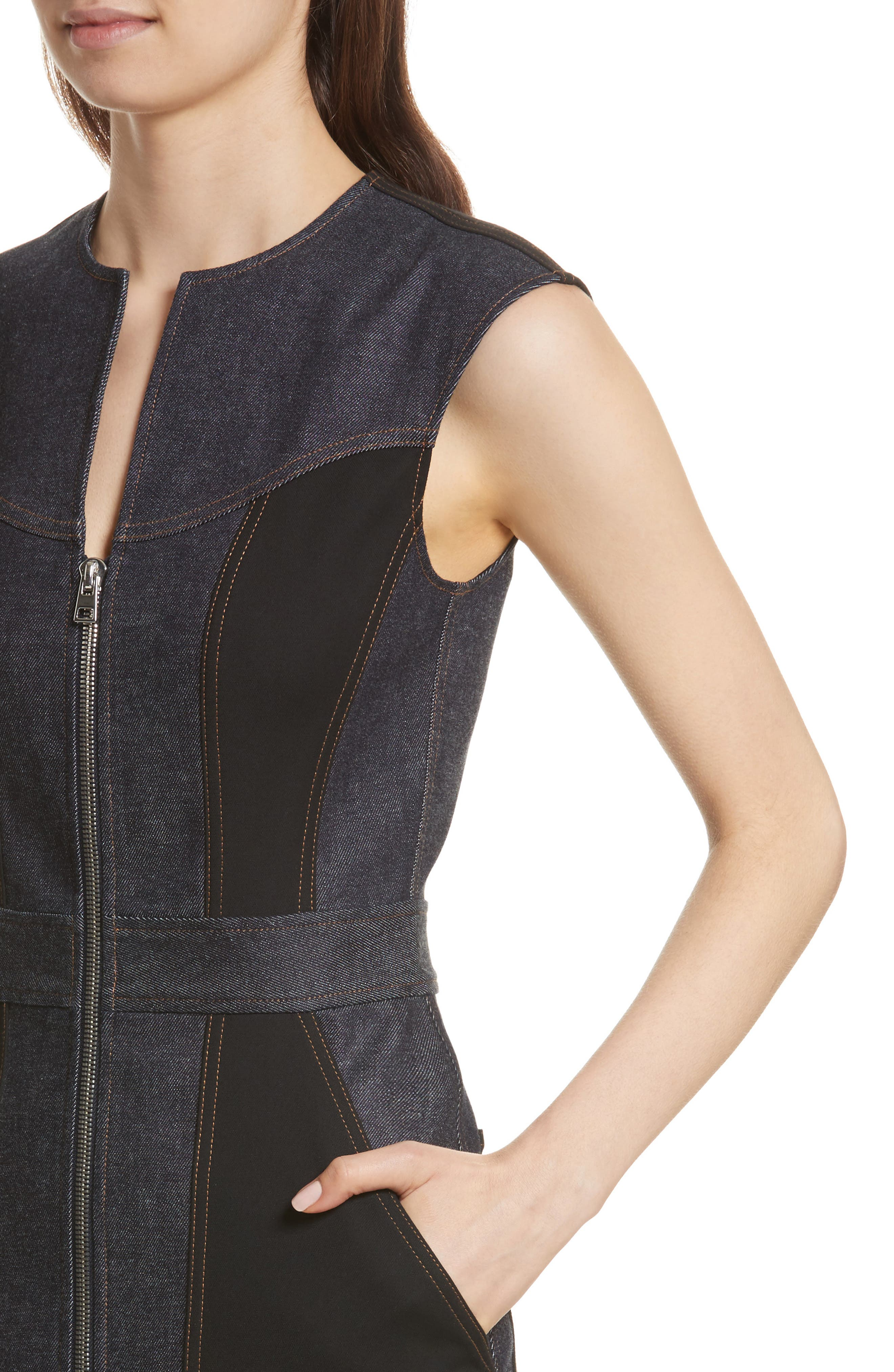 Diane von Furstenberg Front Zip Denim Dress,                             Alternate thumbnail 4, color,                             Indigo/ Black