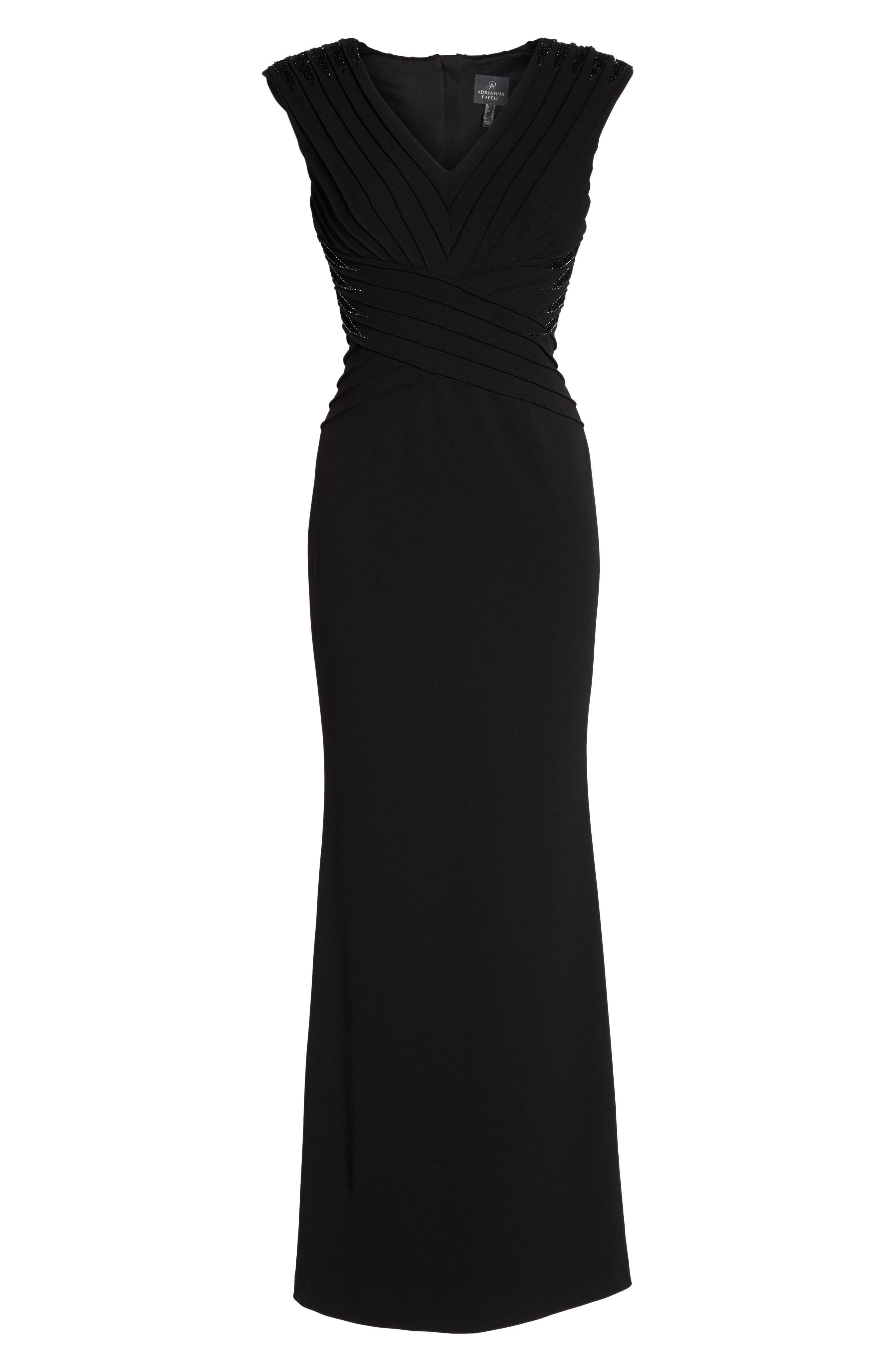 Pintuck Crepe Gown,                             Alternate thumbnail 6, color,                             Black
