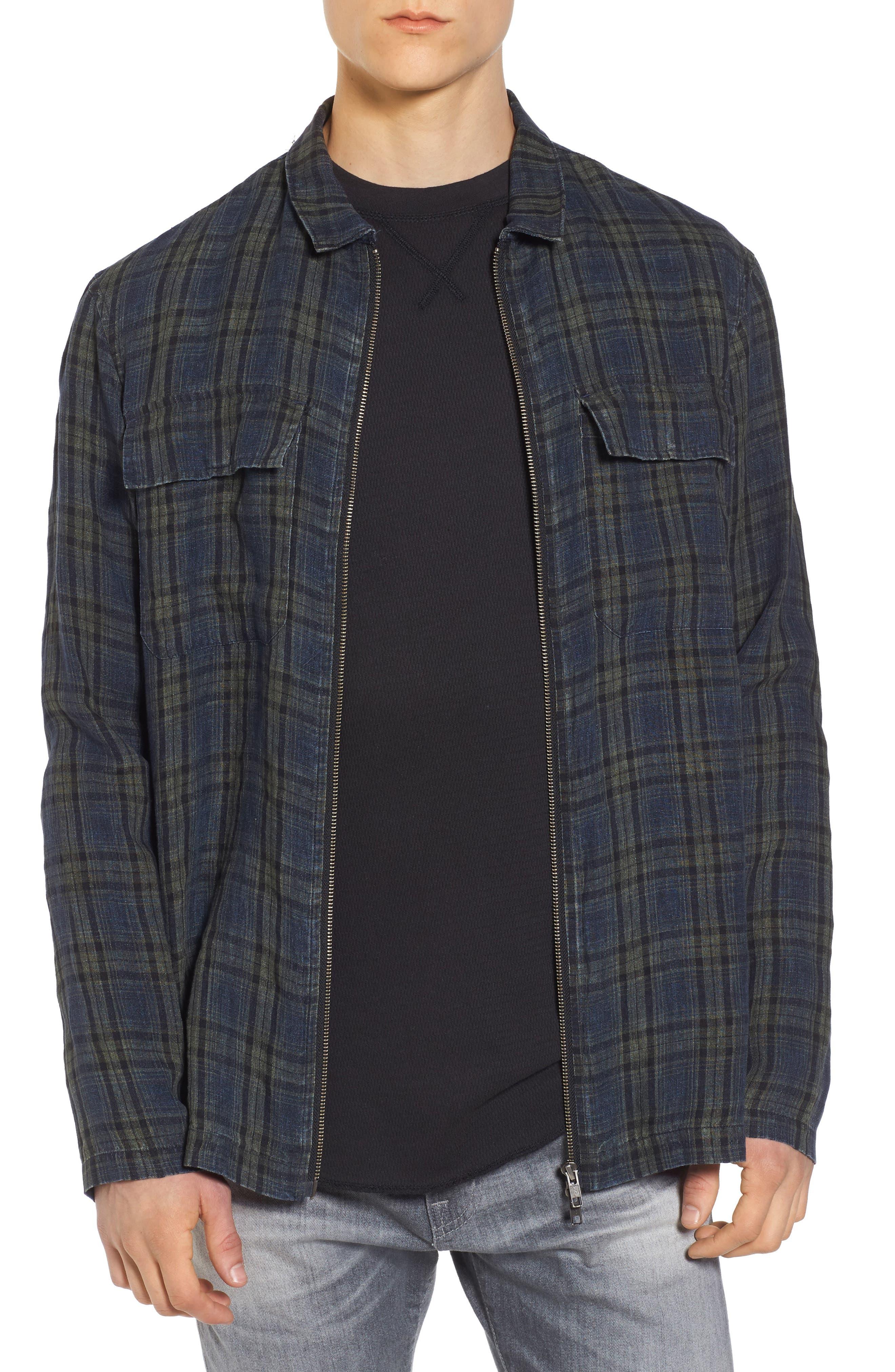 Plaid Zip Front Linen Shirt Jacket,                         Main,                         color, Olive Grove Navy Plaid