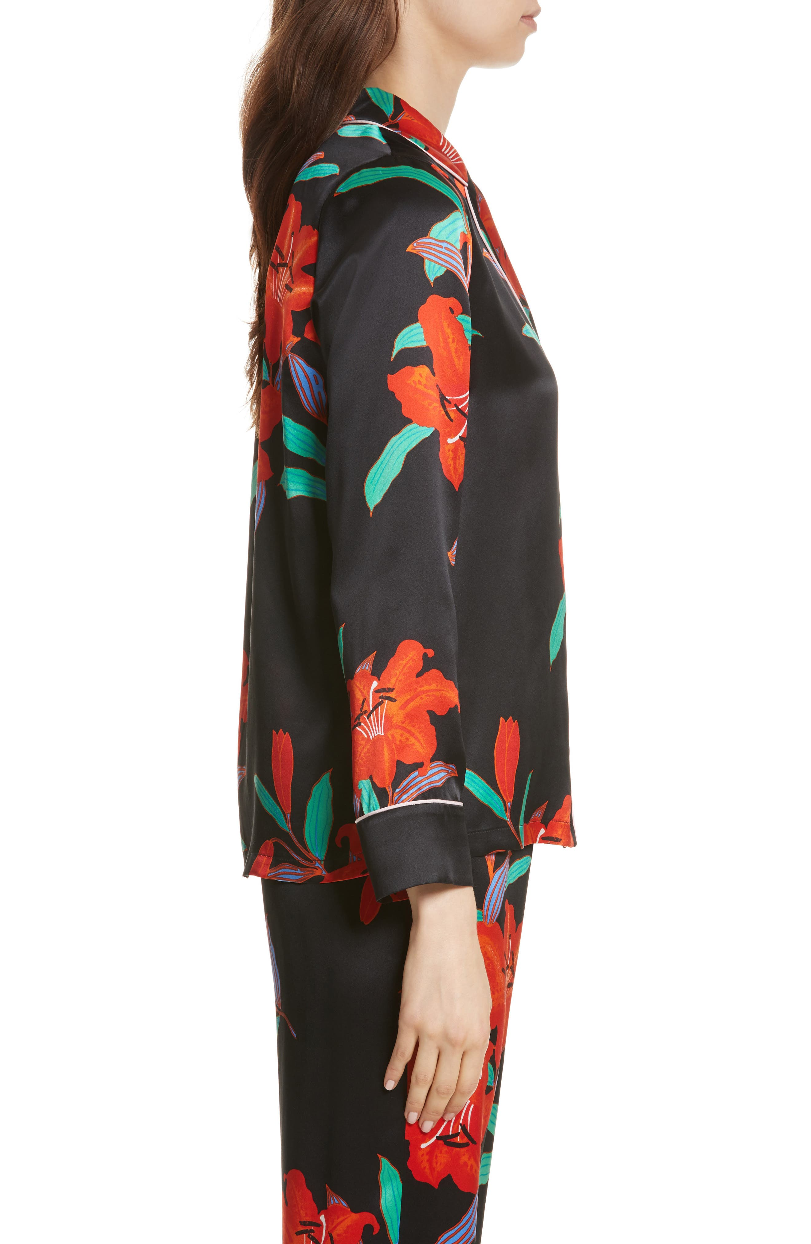 Pajama Silk Shirt,                             Alternate thumbnail 3, color,                             Argos Black/ Powder Pink