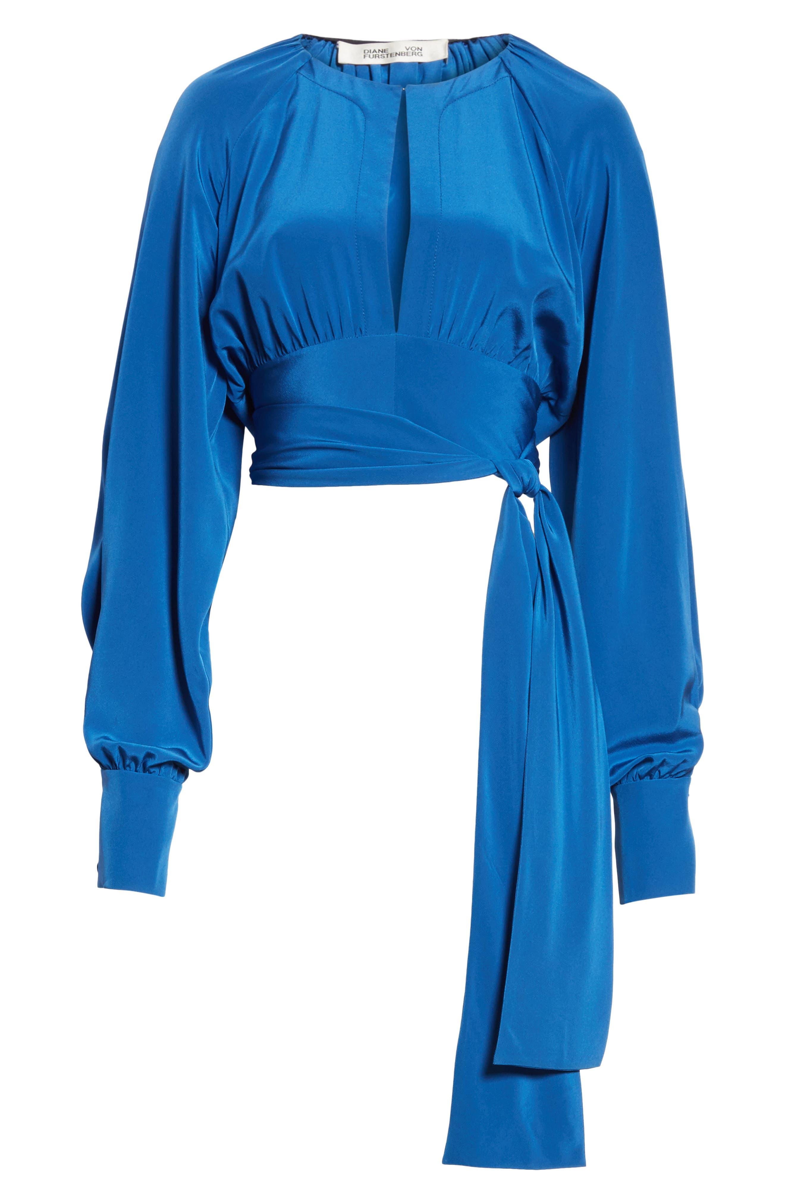 Diane von Furstenberg Keyhole Silk Blouse,                             Alternate thumbnail 6, color,                             Hydrangea