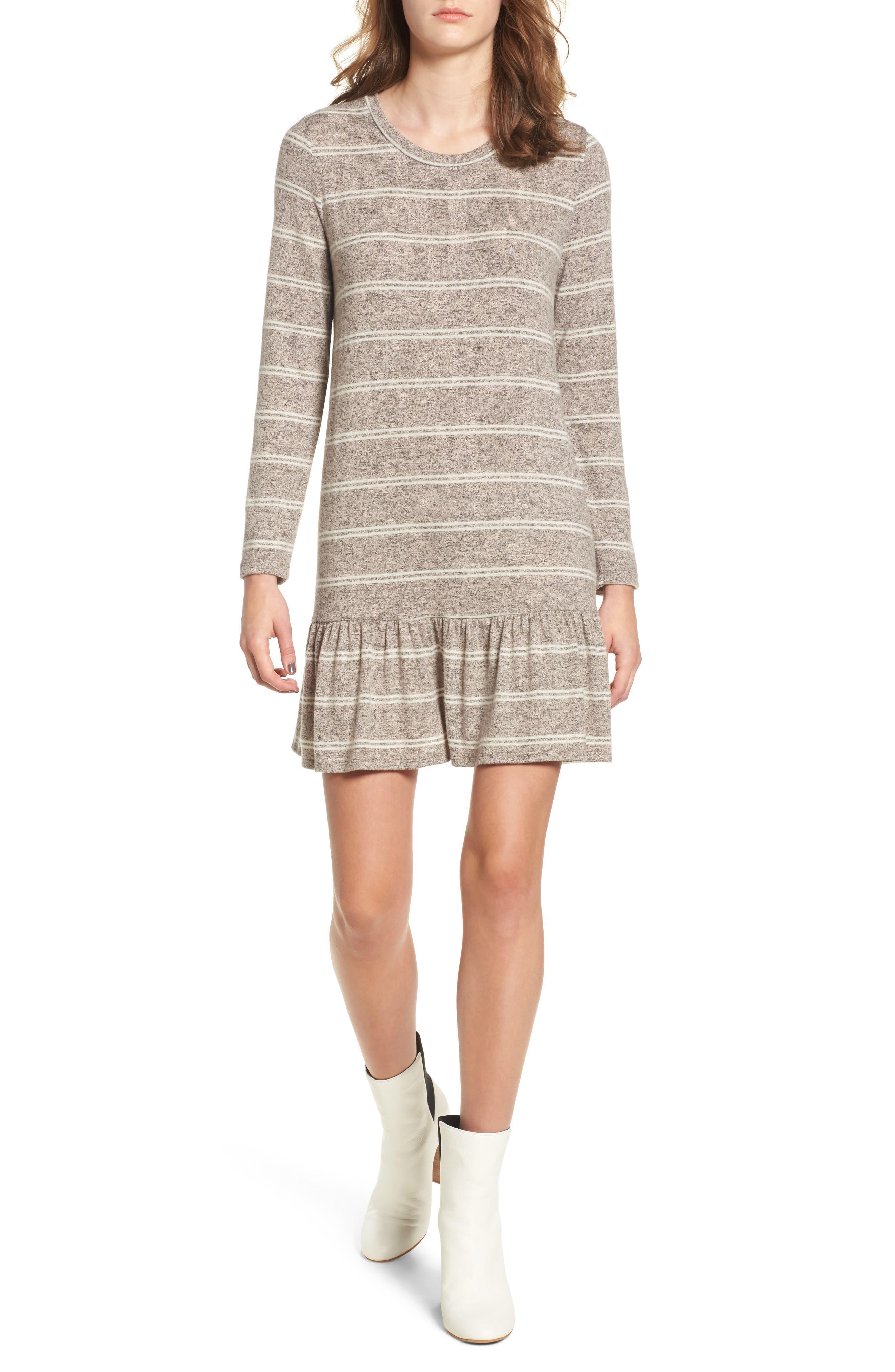 Drop Waist Sweater Dress,                             Main thumbnail 1, color,                             Grey/ Ivory