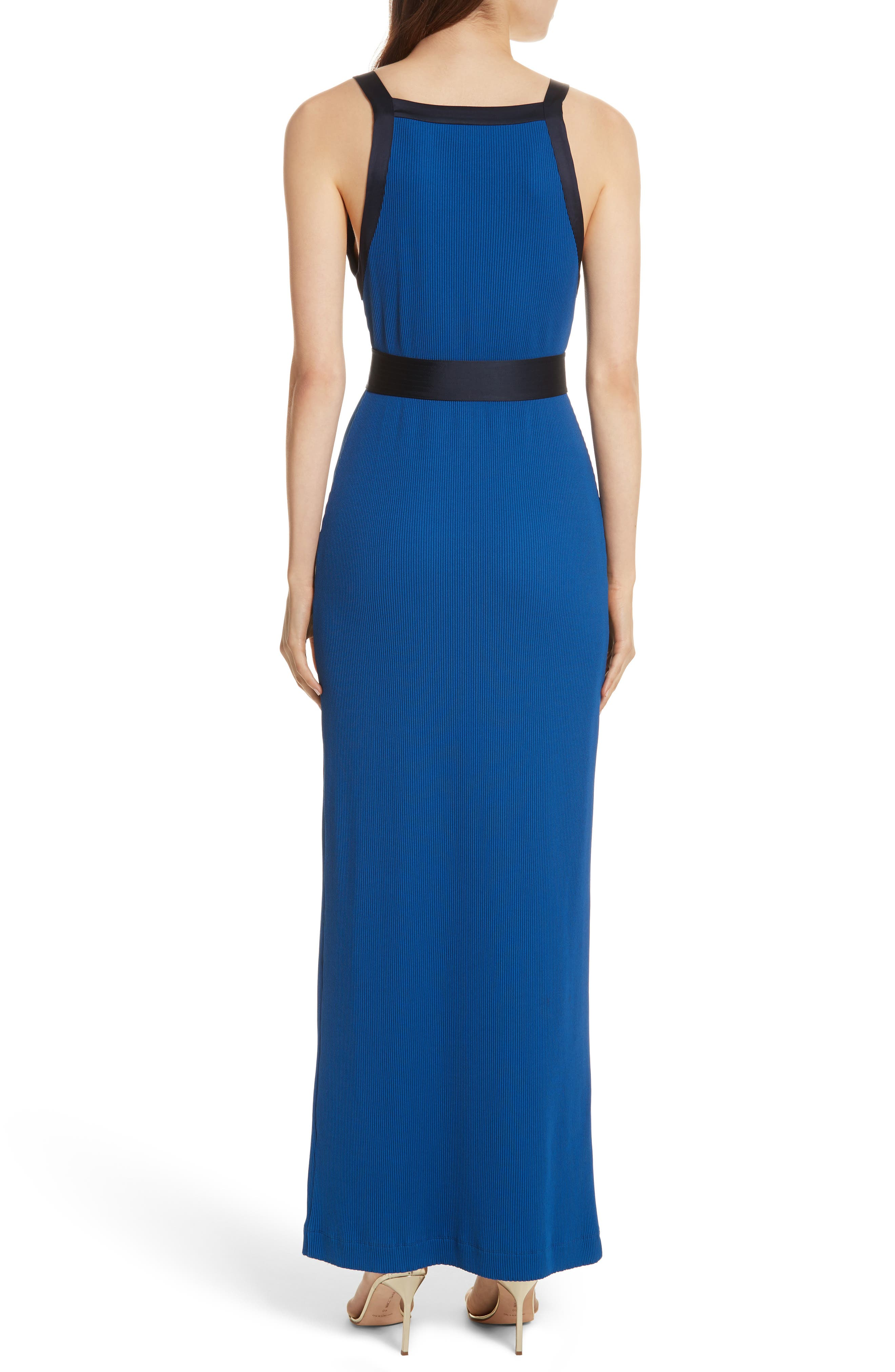 Diane von Furstenberg Ribbed Jersey Maxi Dress,                             Alternate thumbnail 2, color,                             Cove/ Alexander Navy