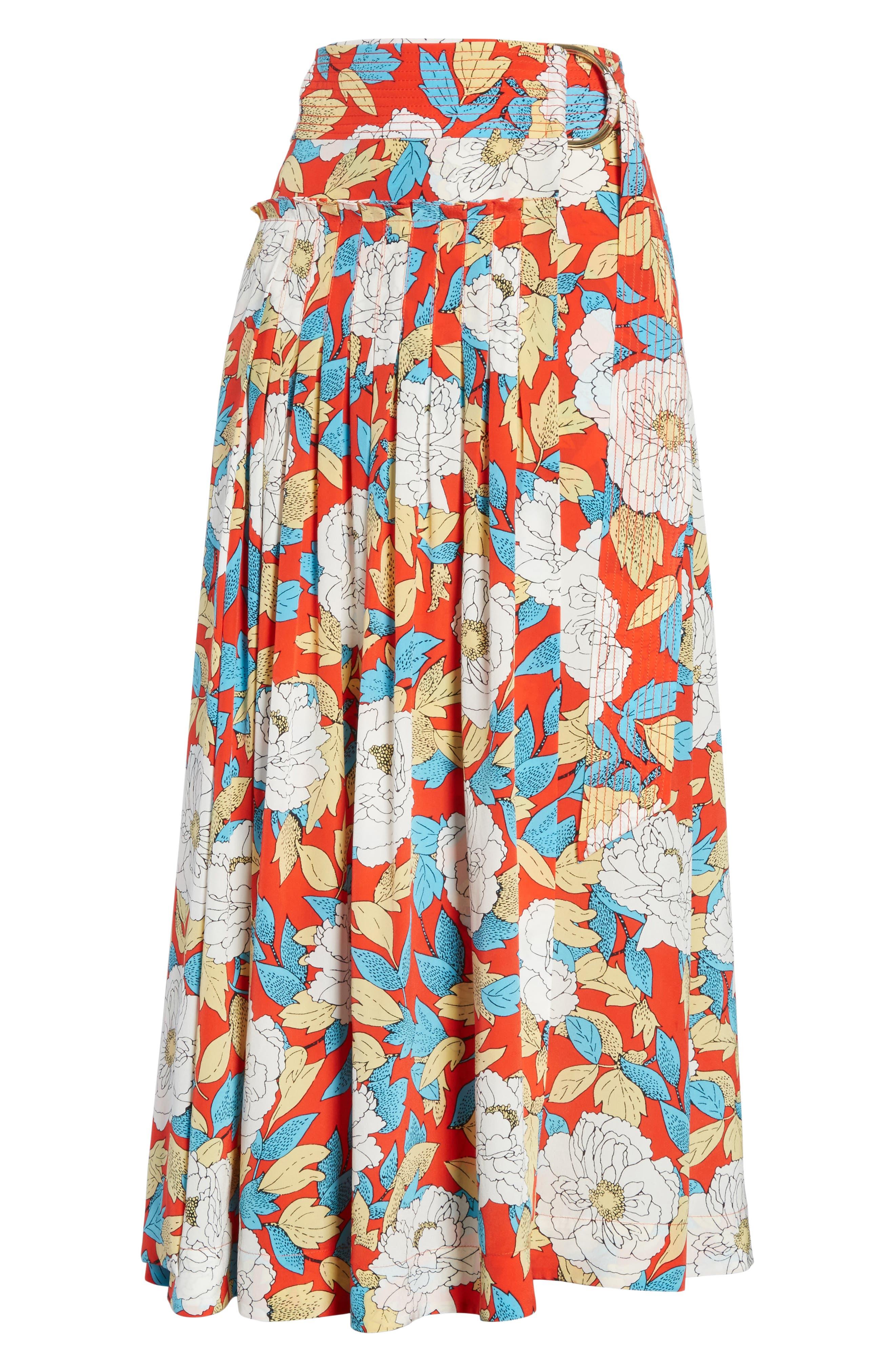 Diane von Furstenberg Floral Silk Midi Skirt,                             Alternate thumbnail 6, color,                             Boswell Poppy