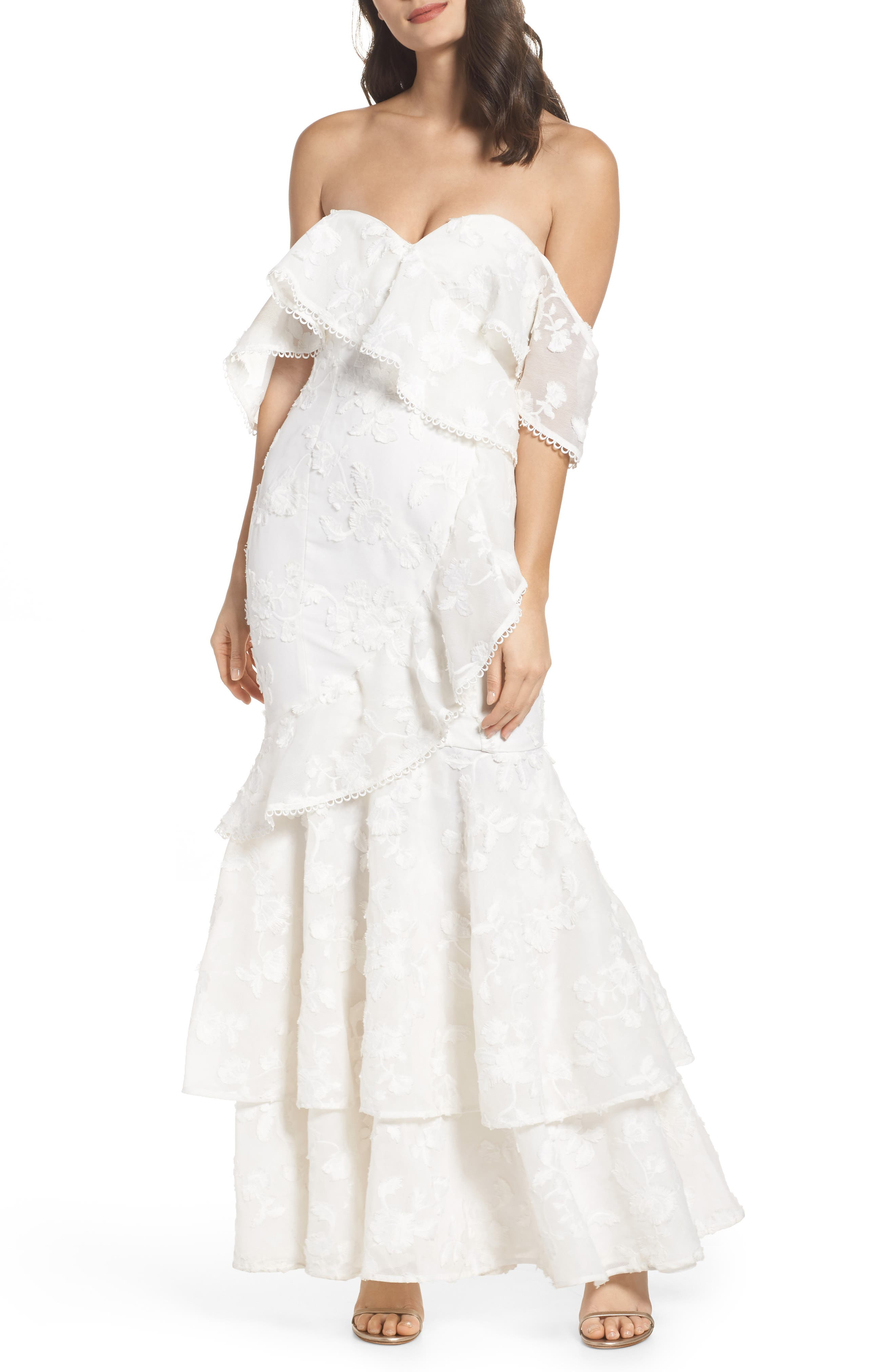 Shine Off the Shoulder Lace Gown,                             Main thumbnail 1, color,                             Ivory