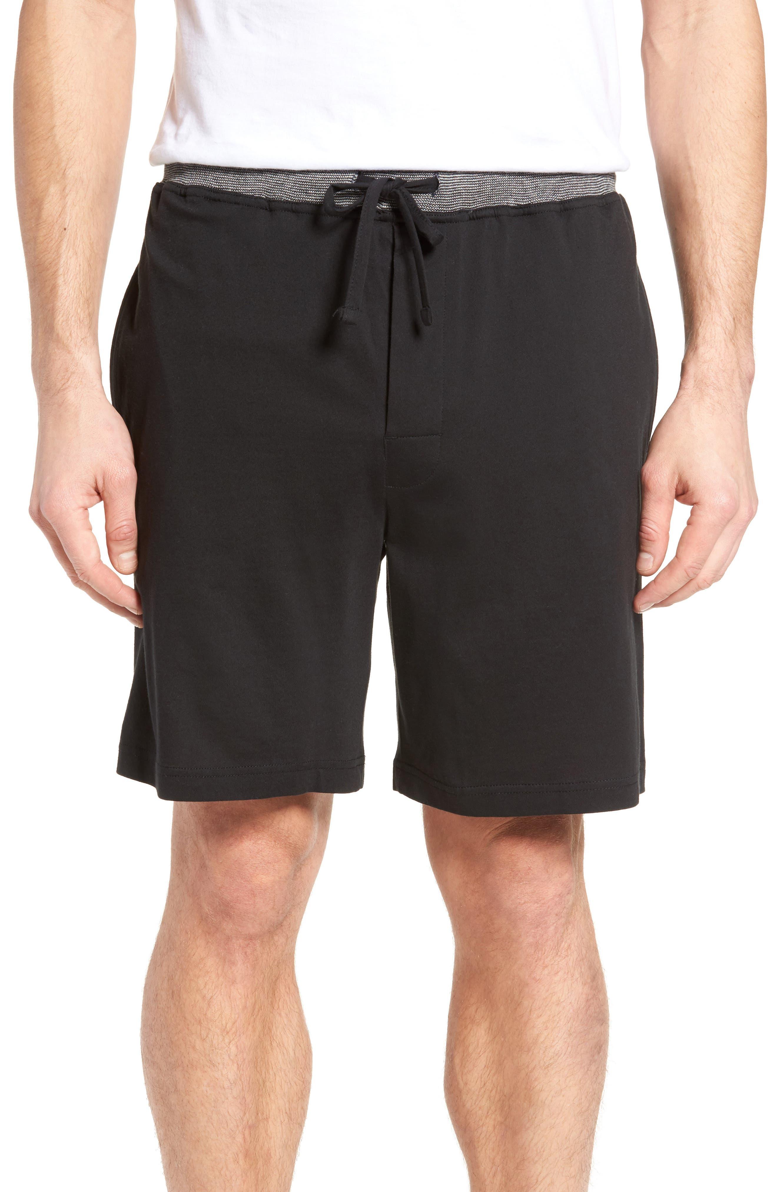 Cotton Lounge Shorts,                         Main,                         color, Solid Black