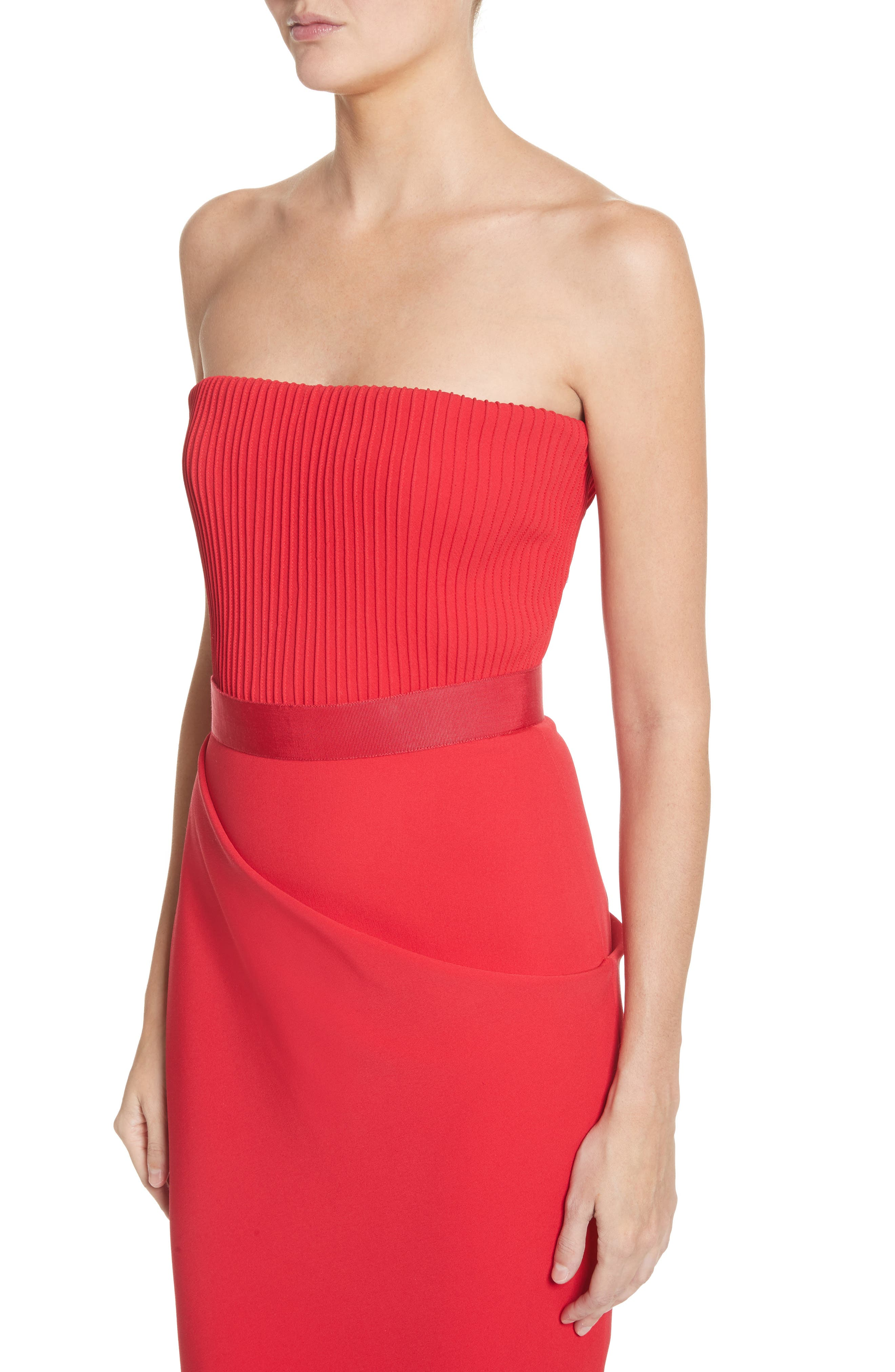 Ribbed Bodice Midi Dress,                             Alternate thumbnail 4, color,                             Red
