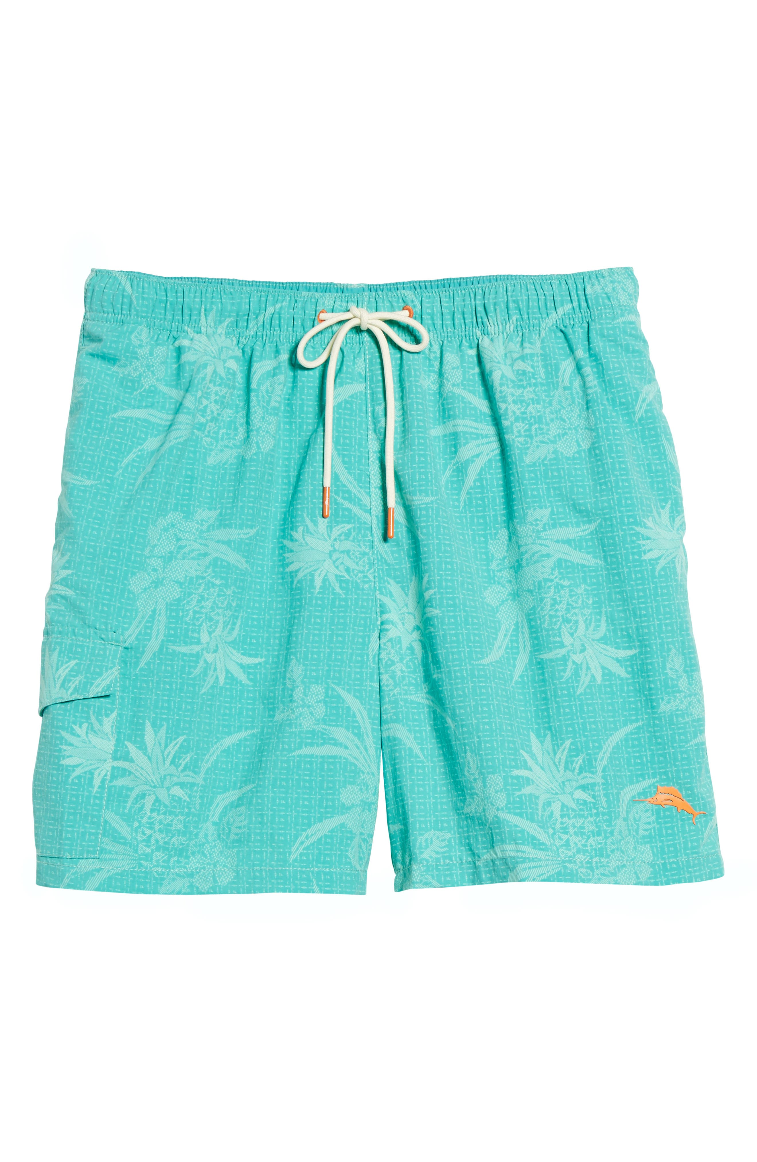 Naples Huli Pineapple Swim Trunks,                             Alternate thumbnail 6, color,                             Castaway Green