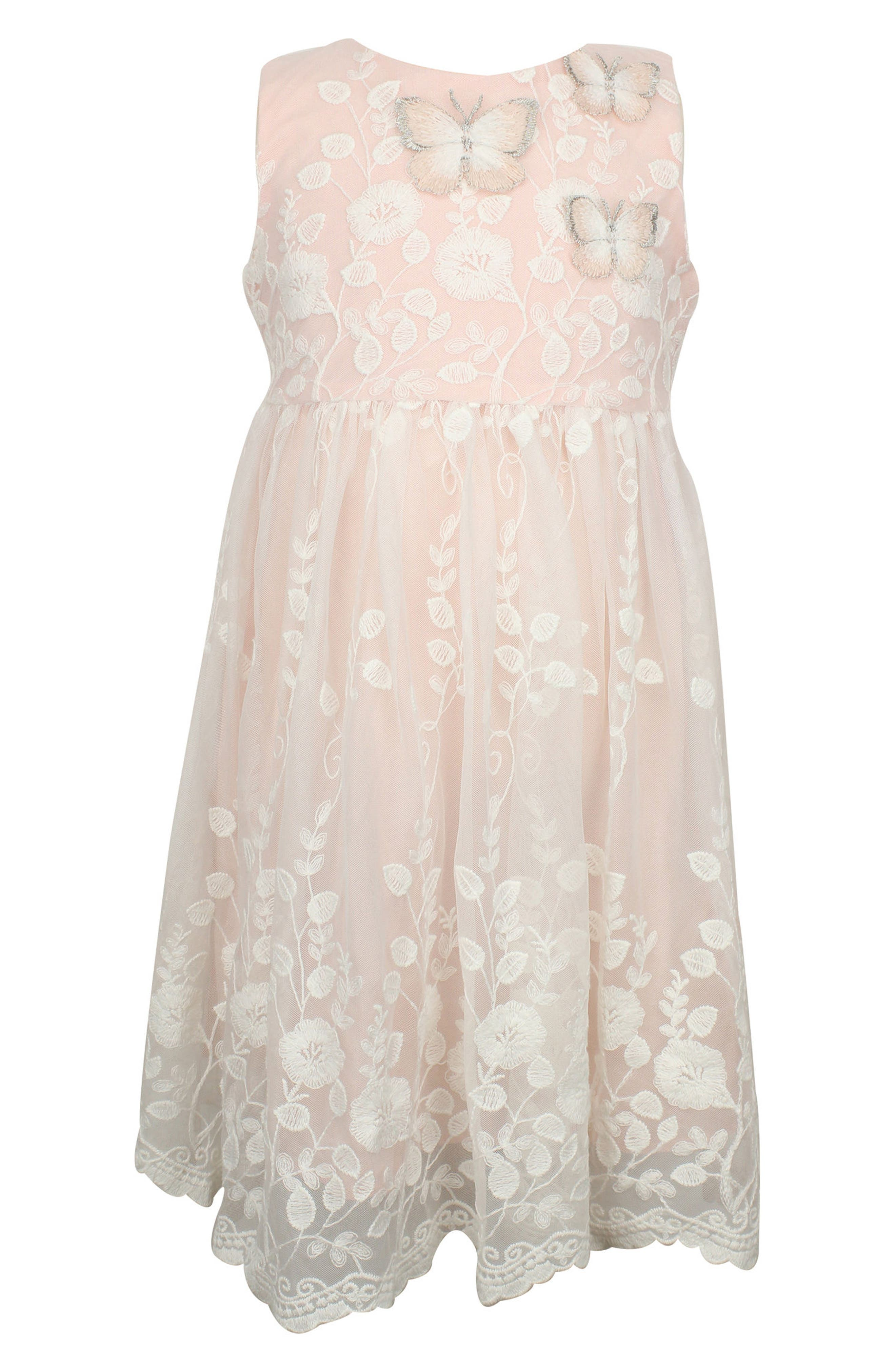 Alternate Image 1 Selected - Popatu Lace Overlay Sleeveless Dress (Baby Girls)