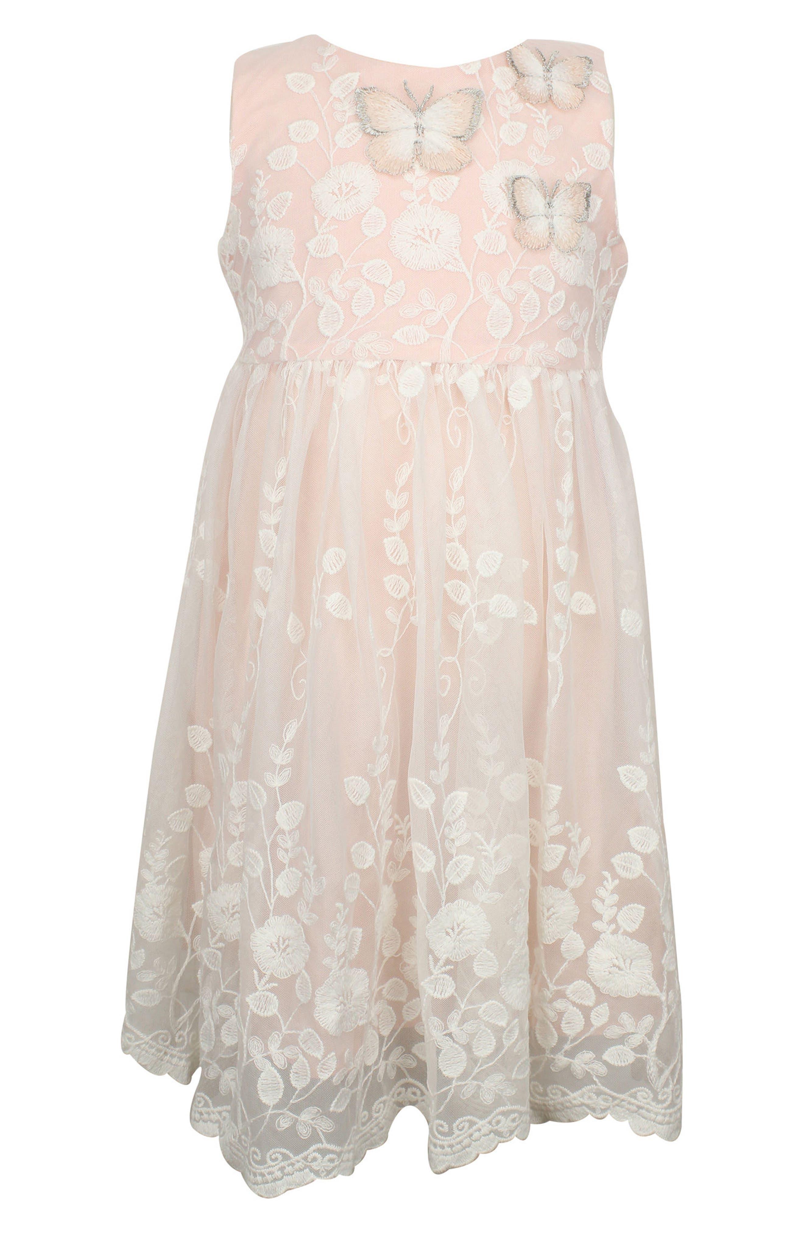 Popatu Lace Overlay Sleeveless Dress (Baby Girls)