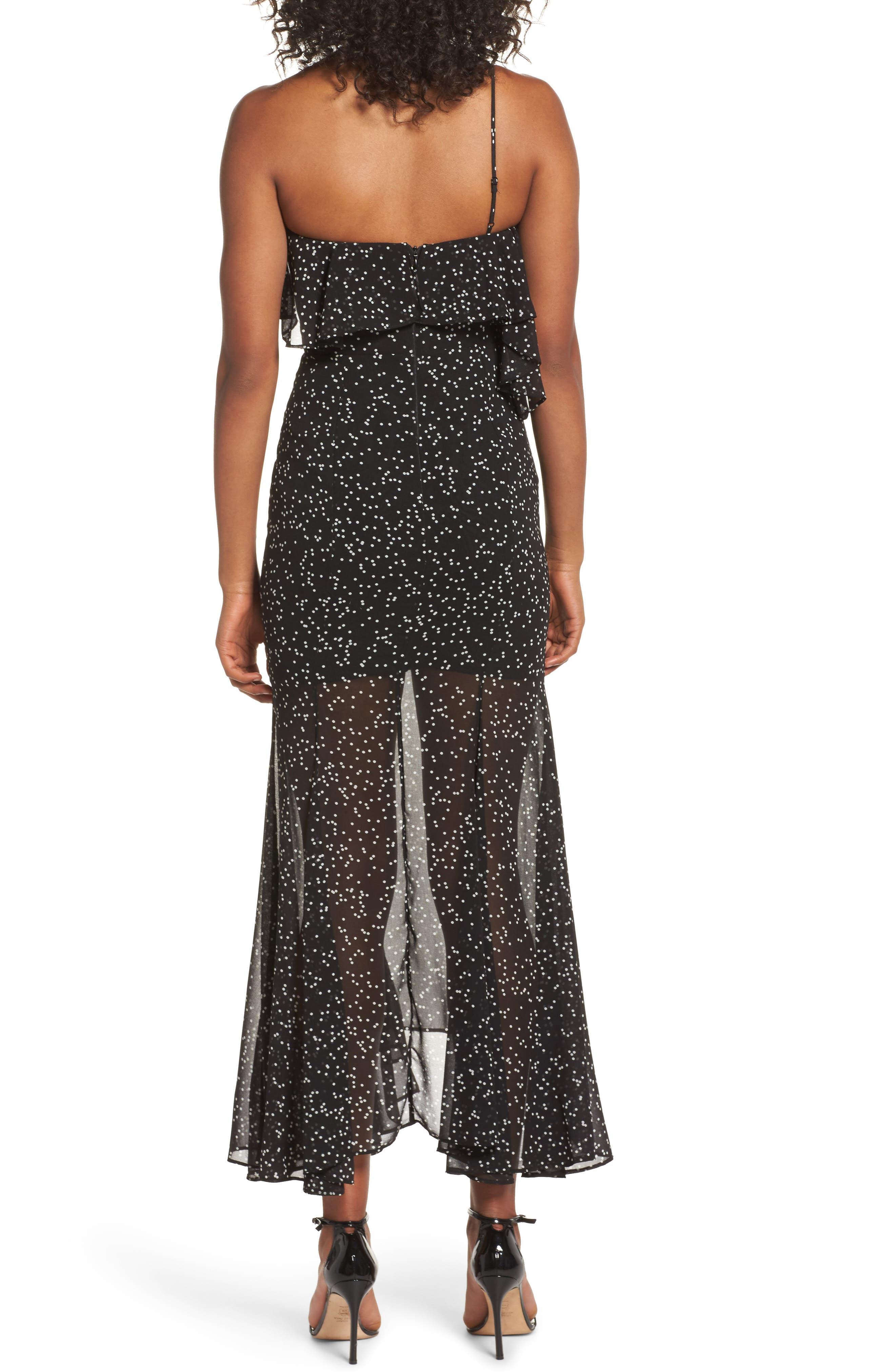 Embrace One Shoulder Dress,                             Alternate thumbnail 3, color,                             Black W White Spot