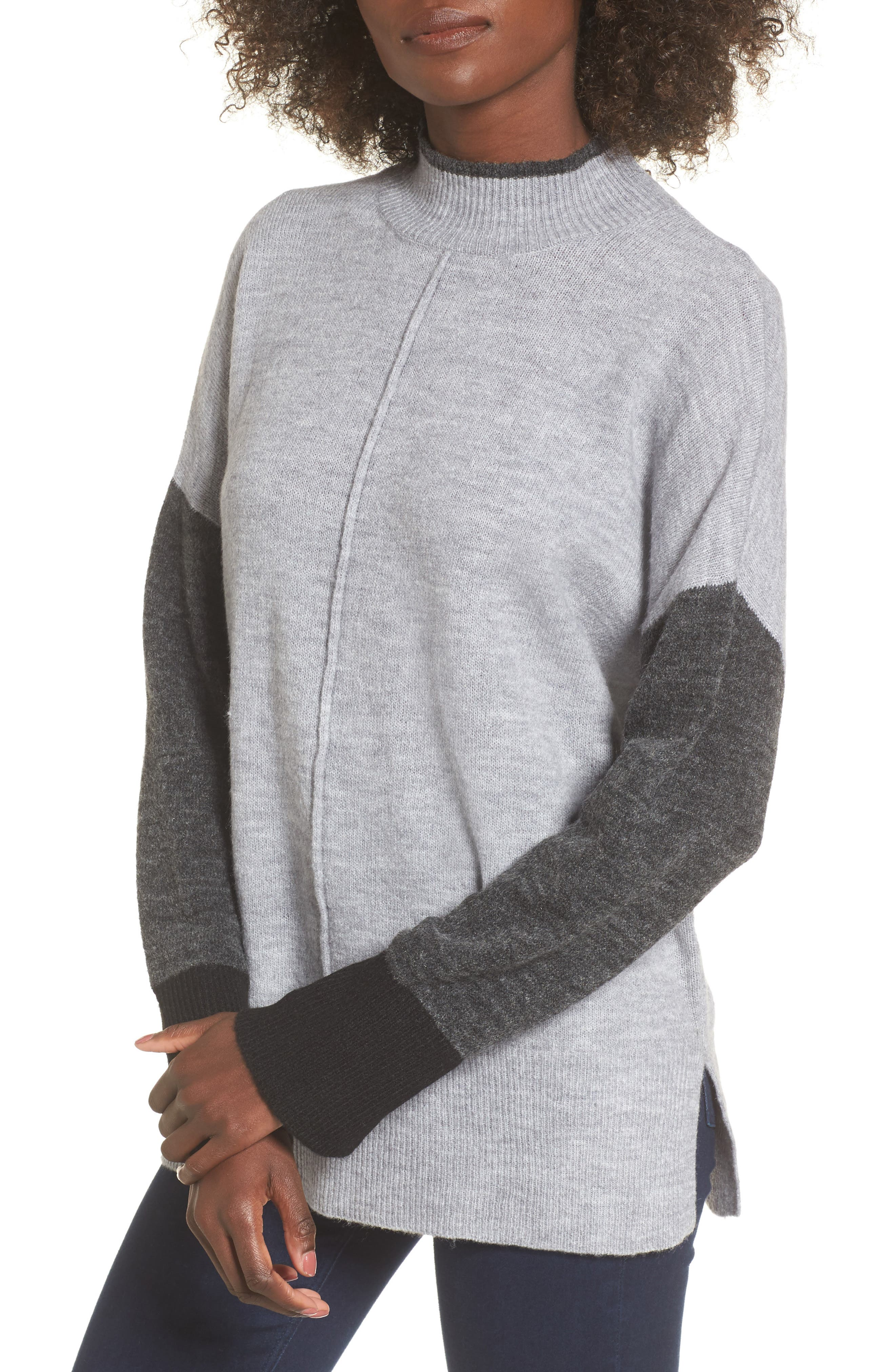 Color Block Mock Neck Sweater,                             Main thumbnail 1, color,                             Grey