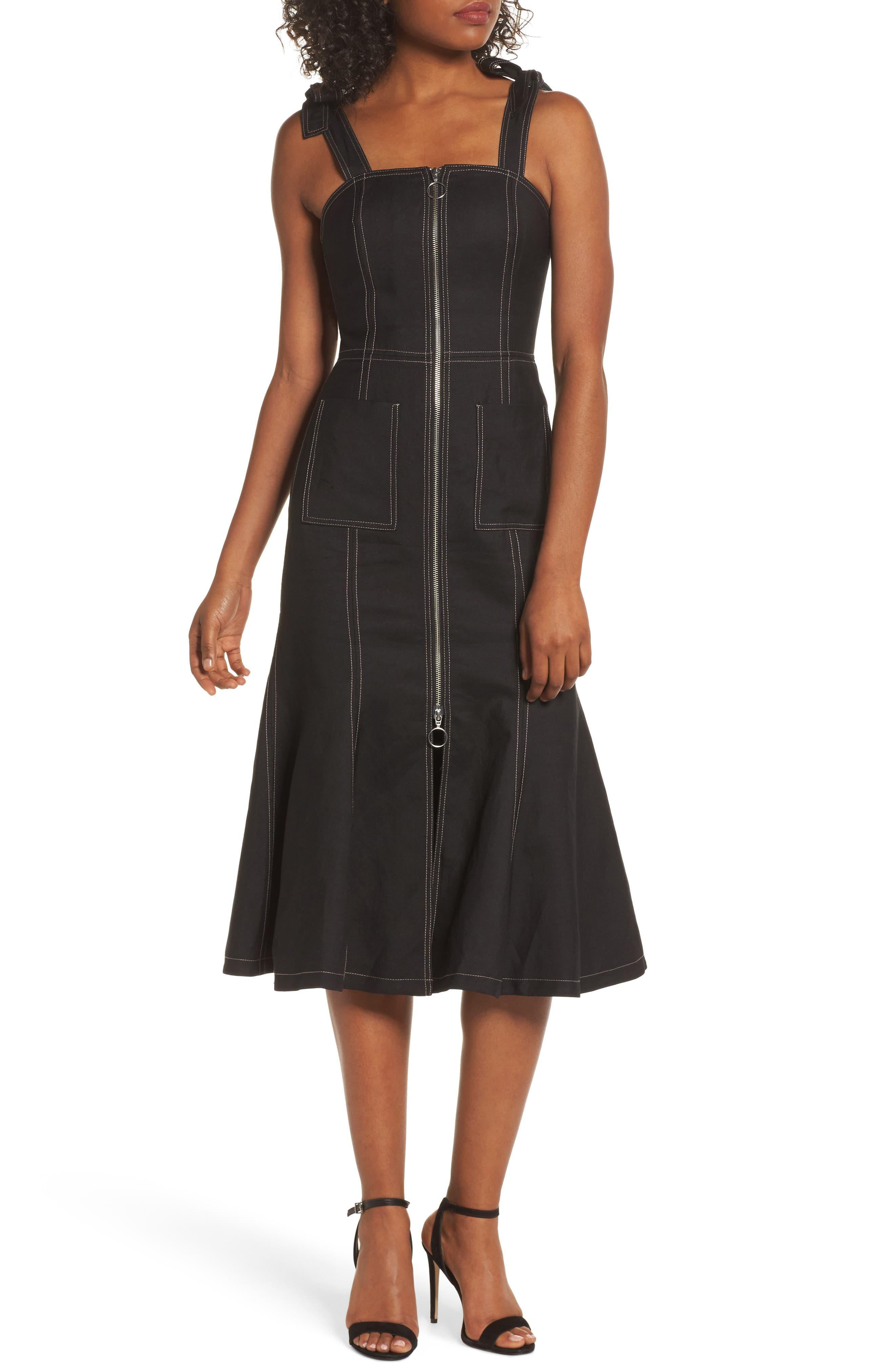 C/MEO Collective Get Right Shoulder Tie Midi Dress